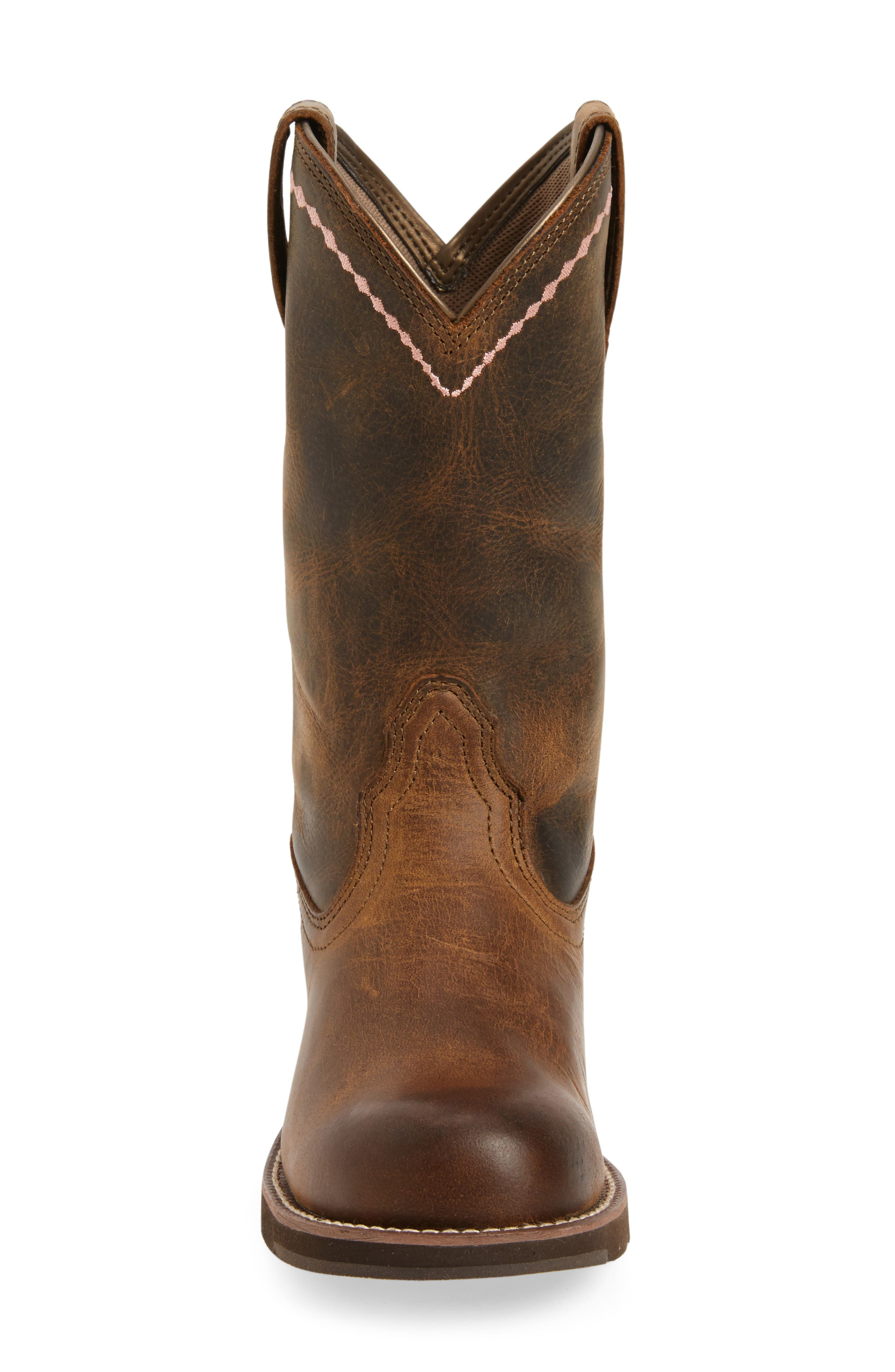 Unbridled Roper Western Boot,                             Alternate thumbnail 3, color,                             DISTRESSED BROWN LEATHER