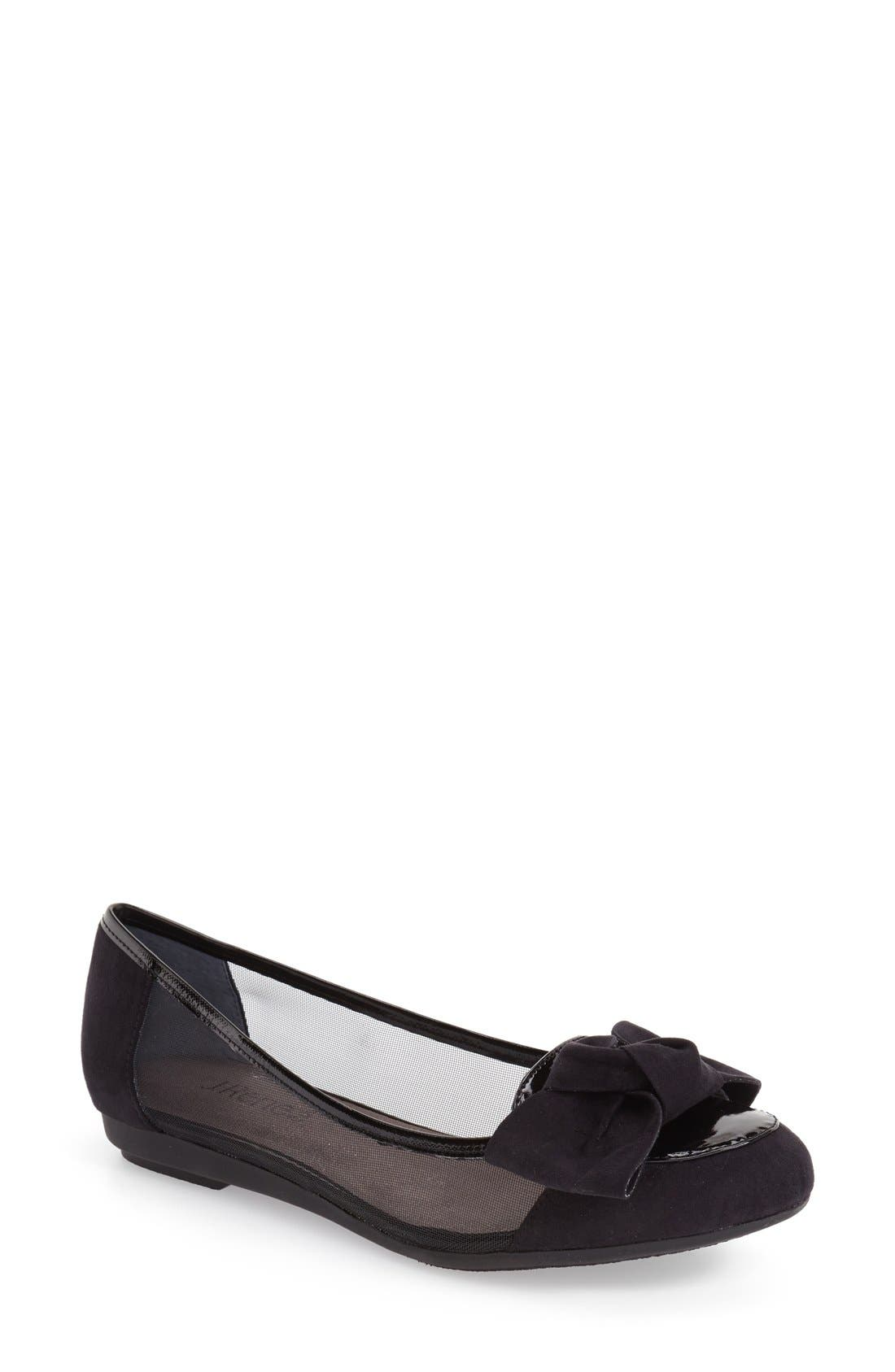 'Bacton' Mesh Inset Bow Flat,                         Main,                         color, BLACK PATENT/ SUEDE