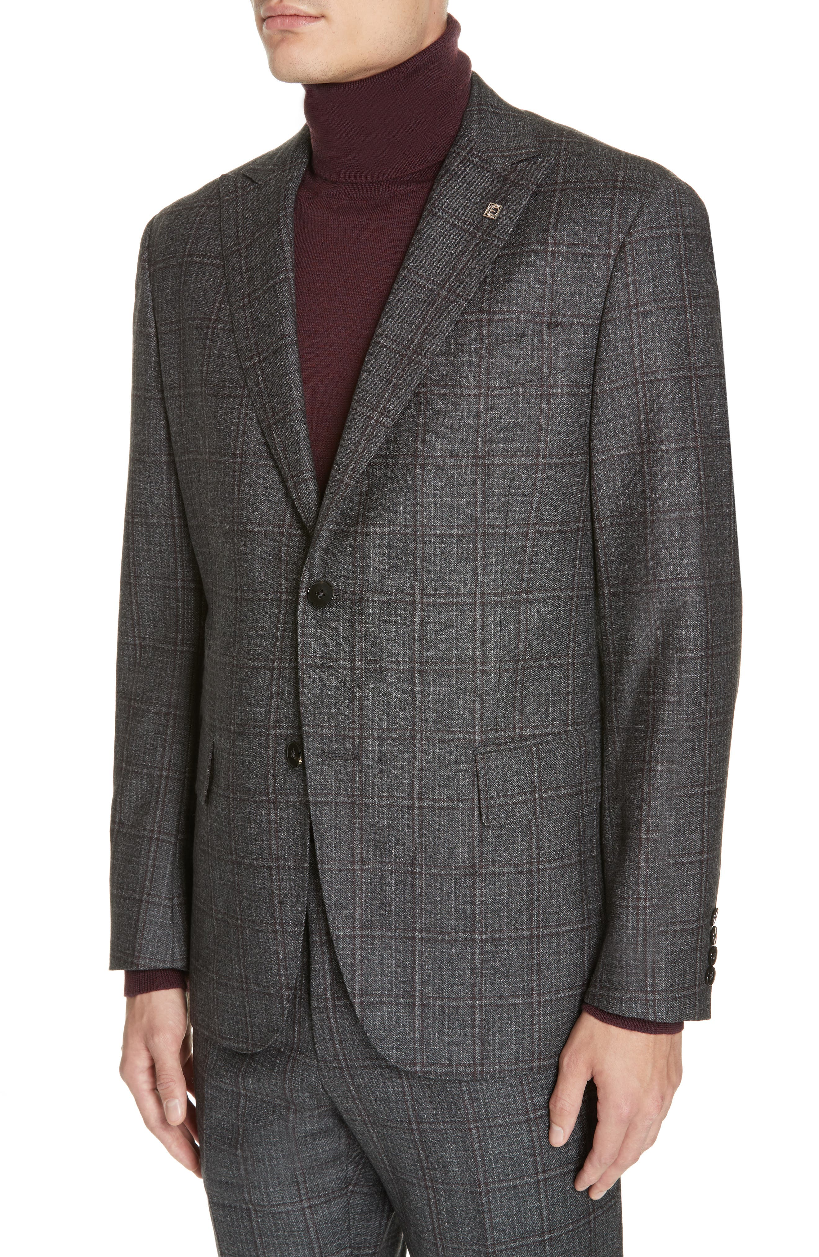 Trim Fit Plaid Wool Suit,                             Alternate thumbnail 4, color,                             GREY/ BURGUNDY