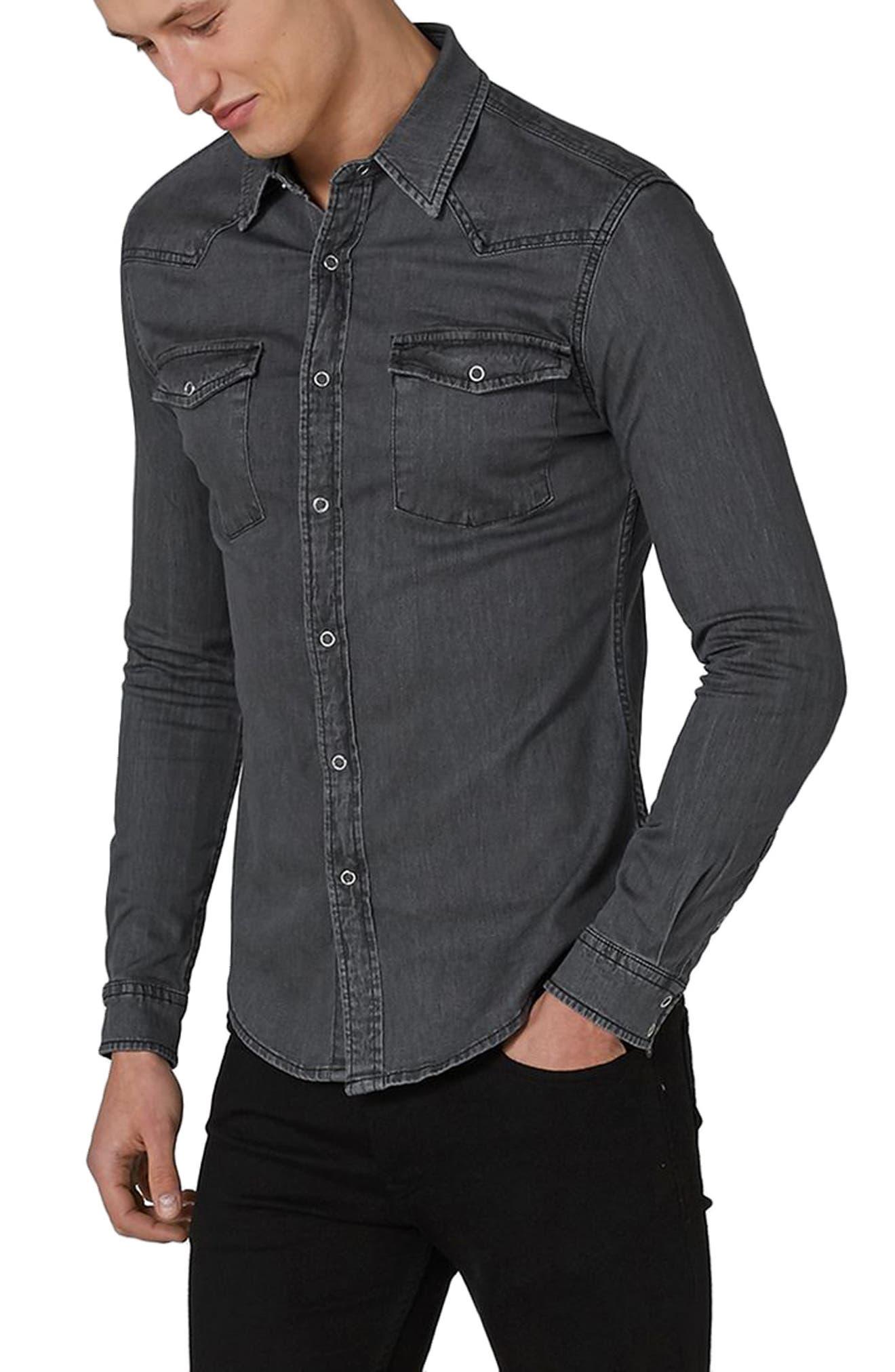 TOPMAN Muscle Fit Denim Western Shirt, Main, color, 010