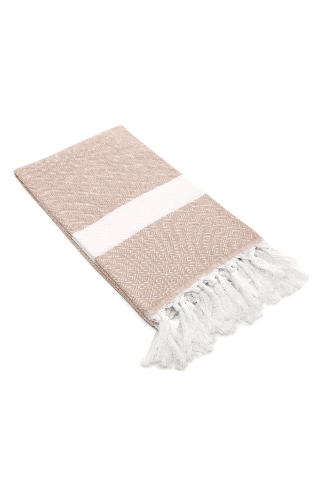 'Diamond' Turkish Pestemal Towel,                             Main thumbnail 1, color,                             BEIGE