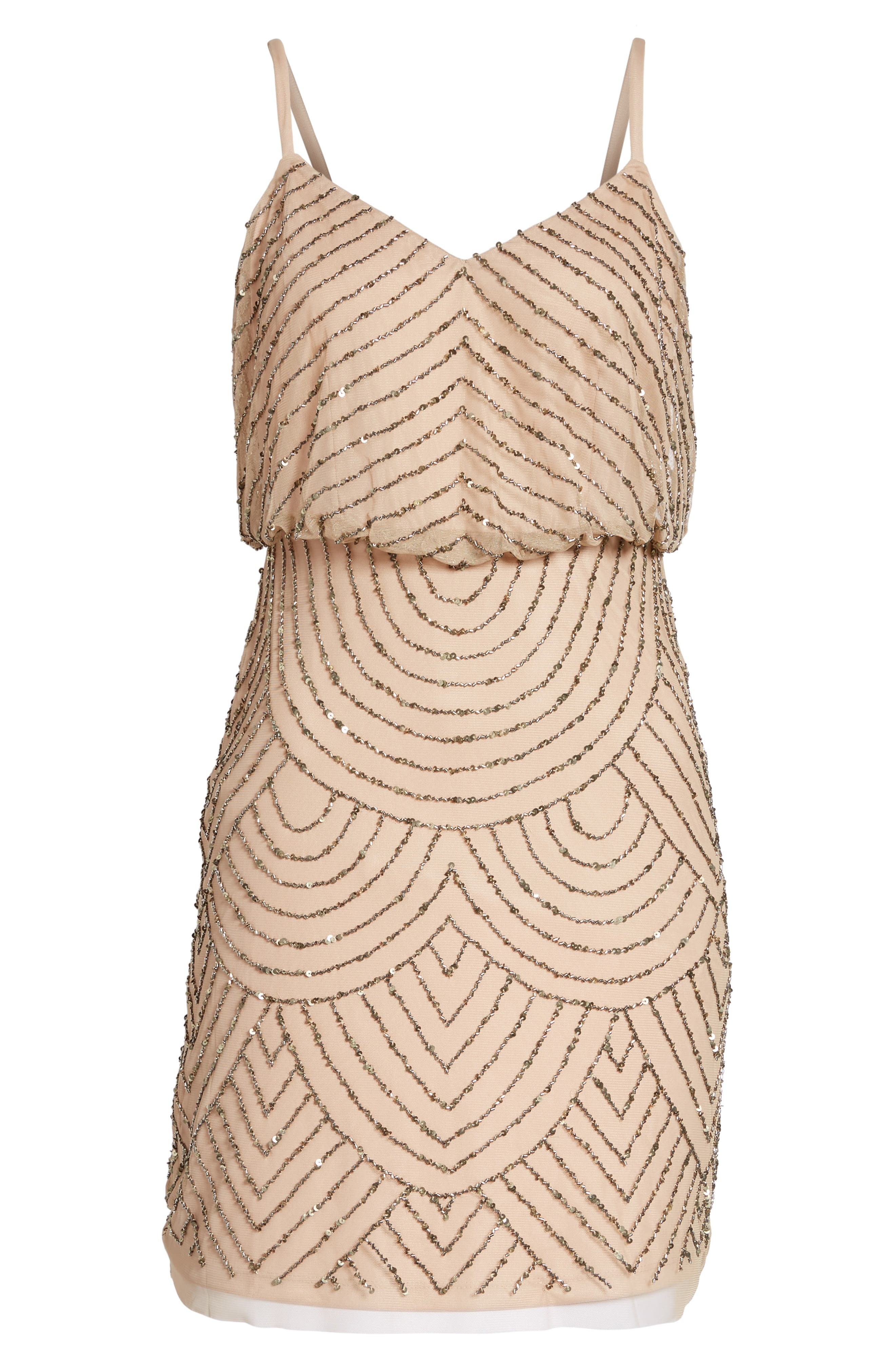 Sequin Mesh Blouson Dress,                             Alternate thumbnail 3, color,                             257