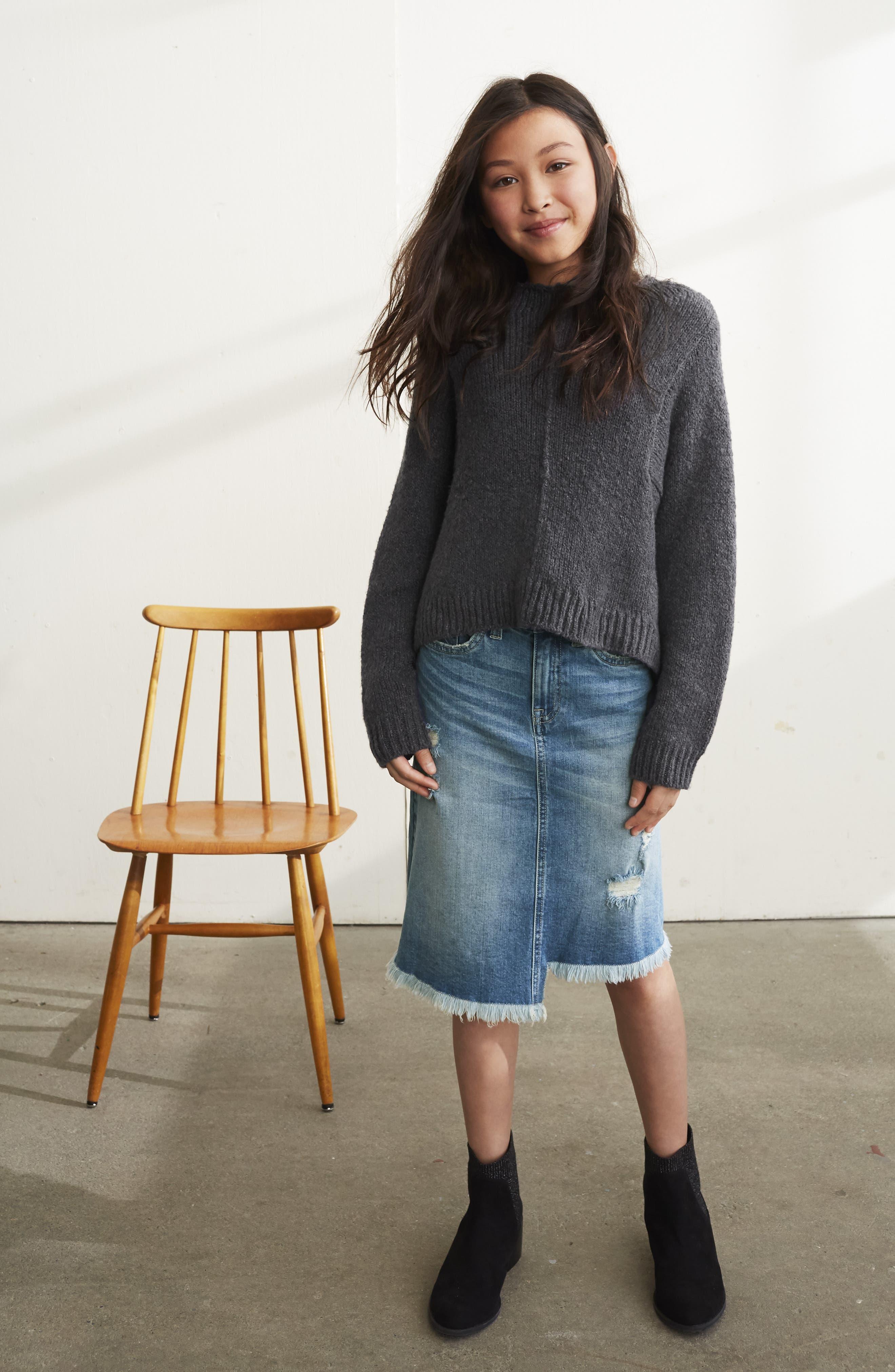 Step Hem Denim Skirt,                             Alternate thumbnail 3, color,                             HIDEAWAY WASH