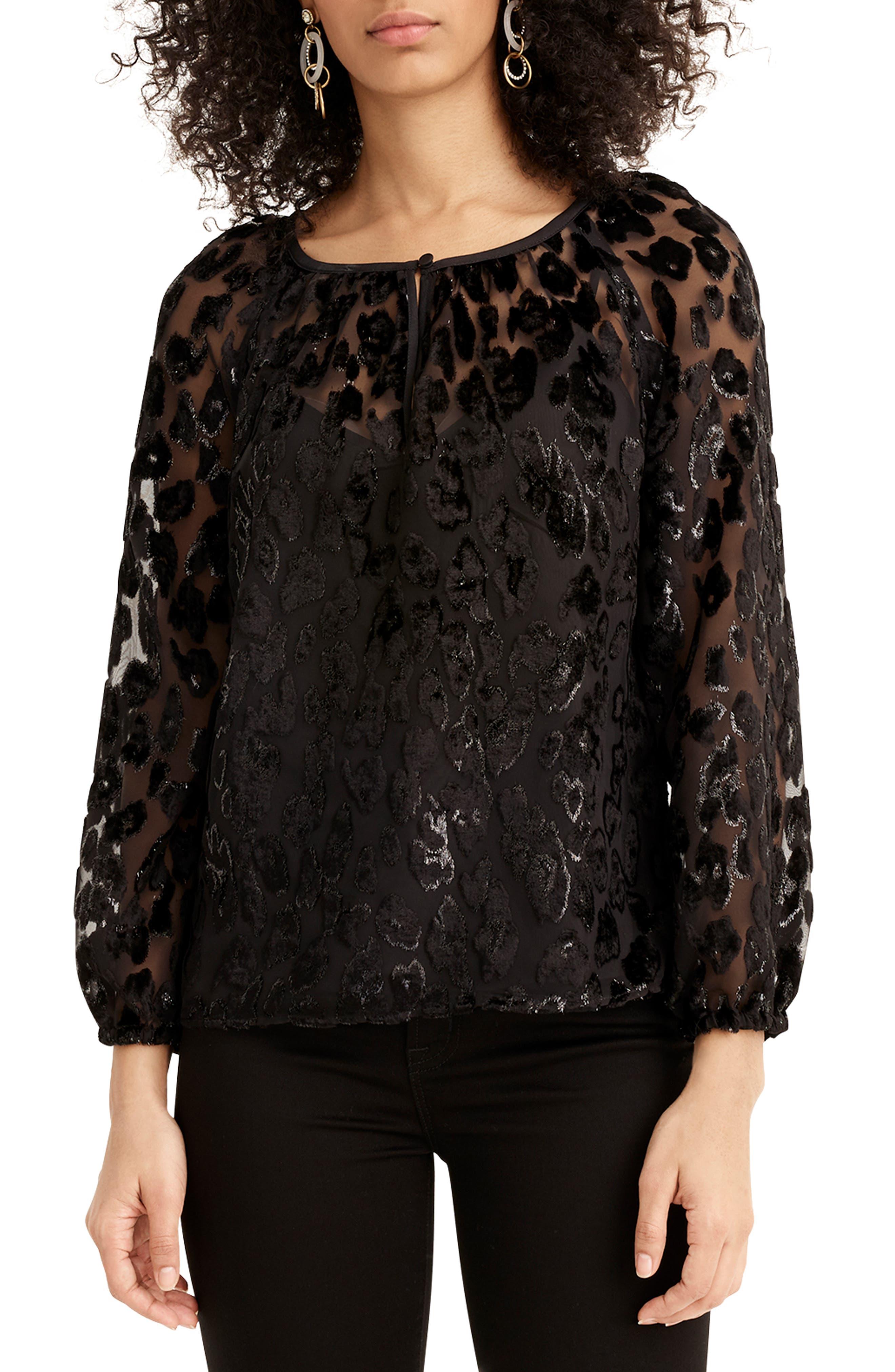 Leopard Velvet Popover Top,                         Main,                         color, BLACK