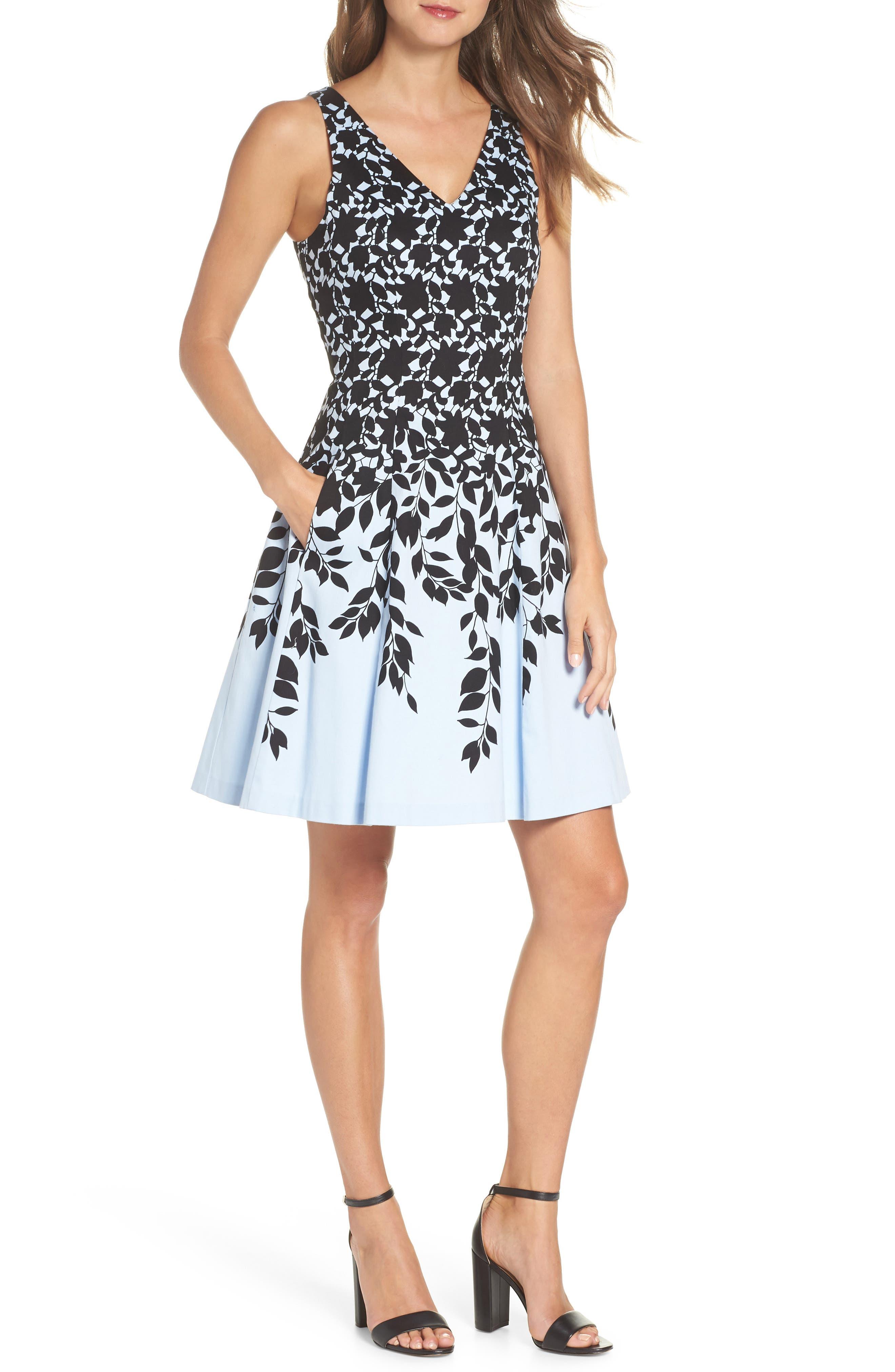 Print Fit & Flare Dress,                             Main thumbnail 1, color,