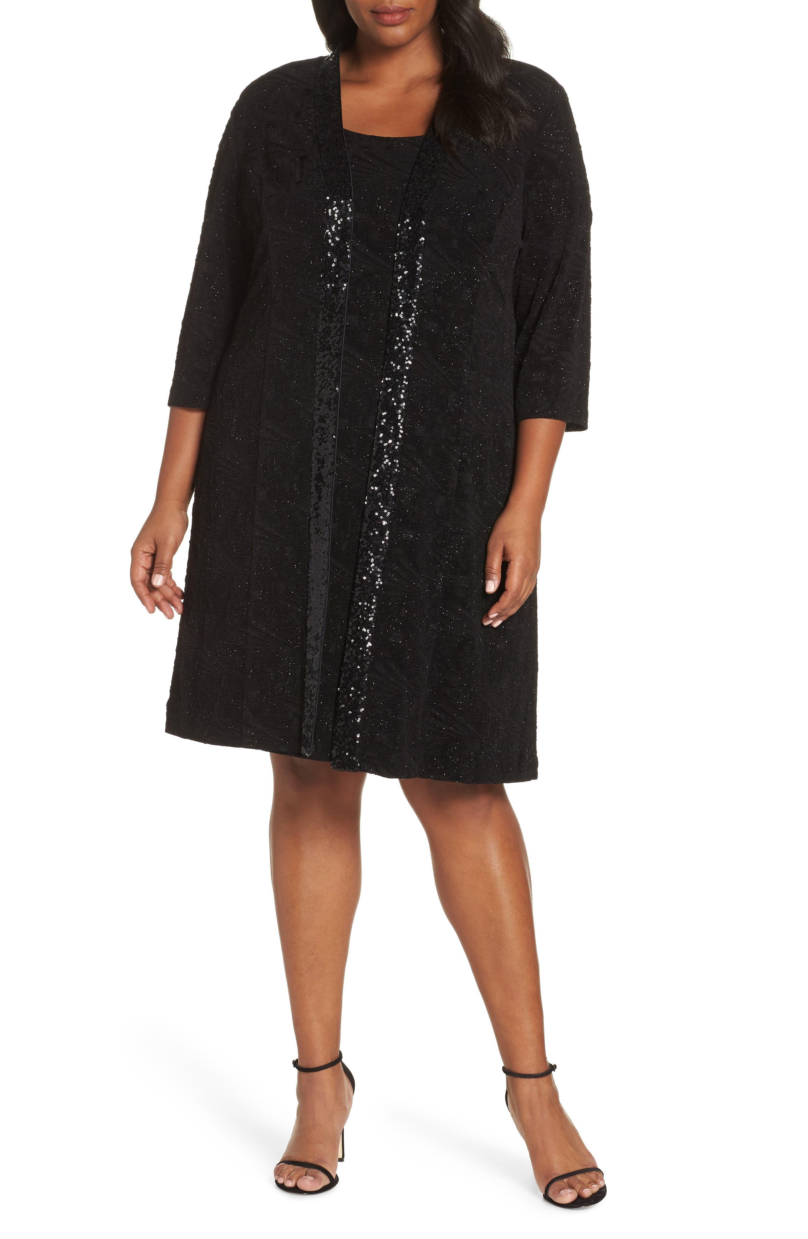 plus size women's alex evenings sequin shift dress with jacket, size 16w - black