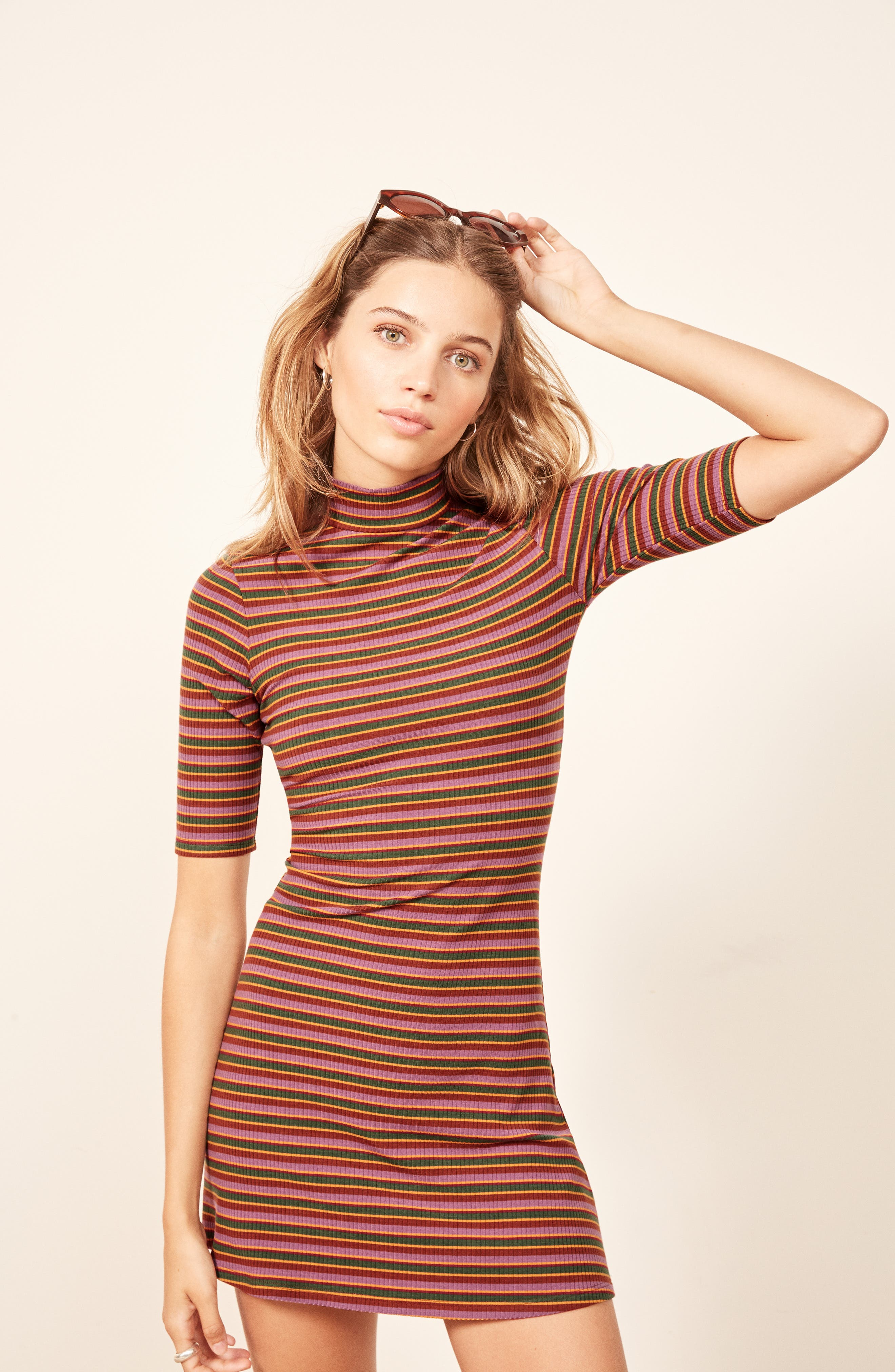 Mod Sweater Dress,                             Alternate thumbnail 6, color,                             GABRIEL STRIPE