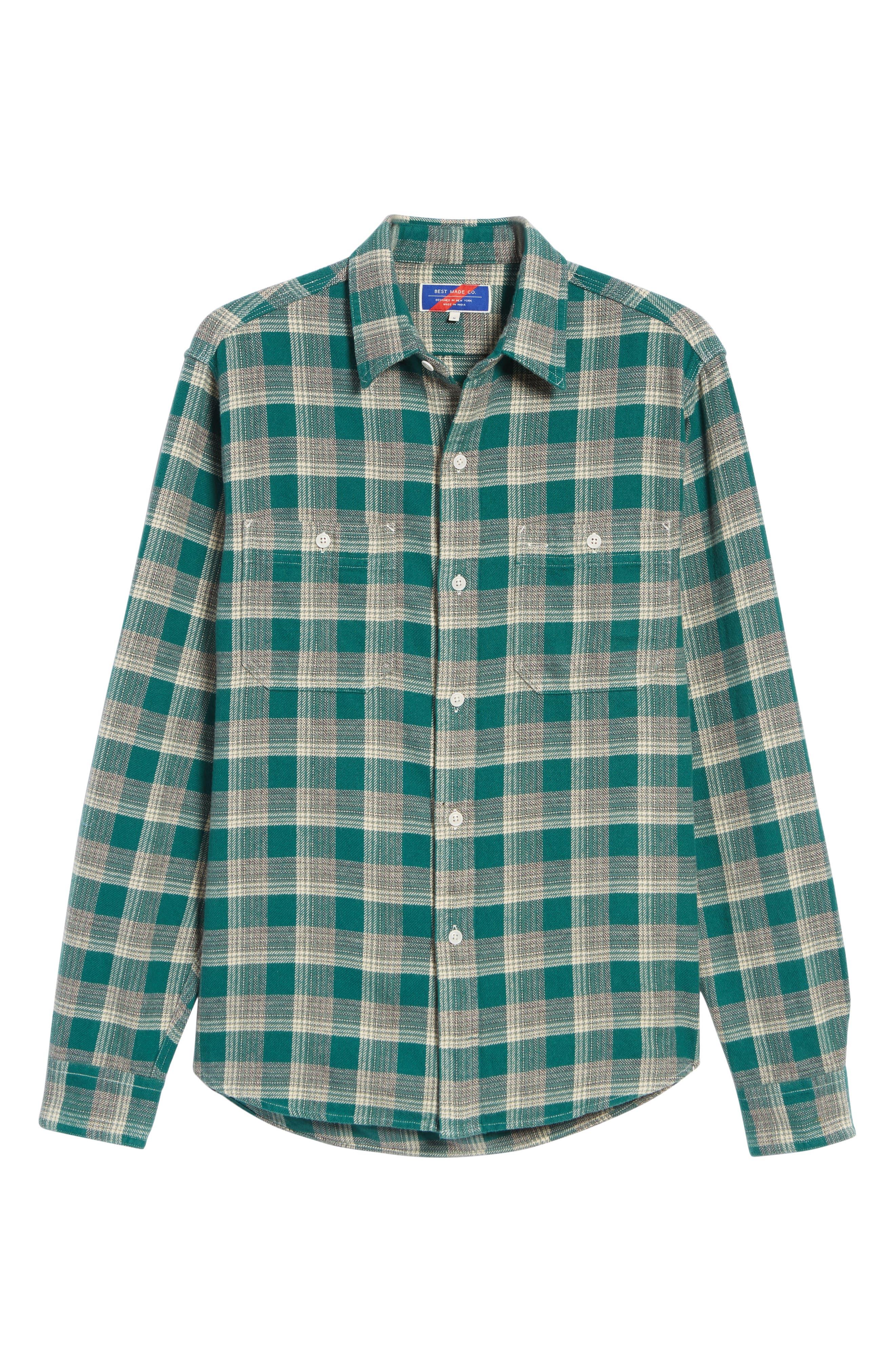 The Heavyweight Flannel Workshirt,                         Main,                         color, GREEN HALF SHADOW