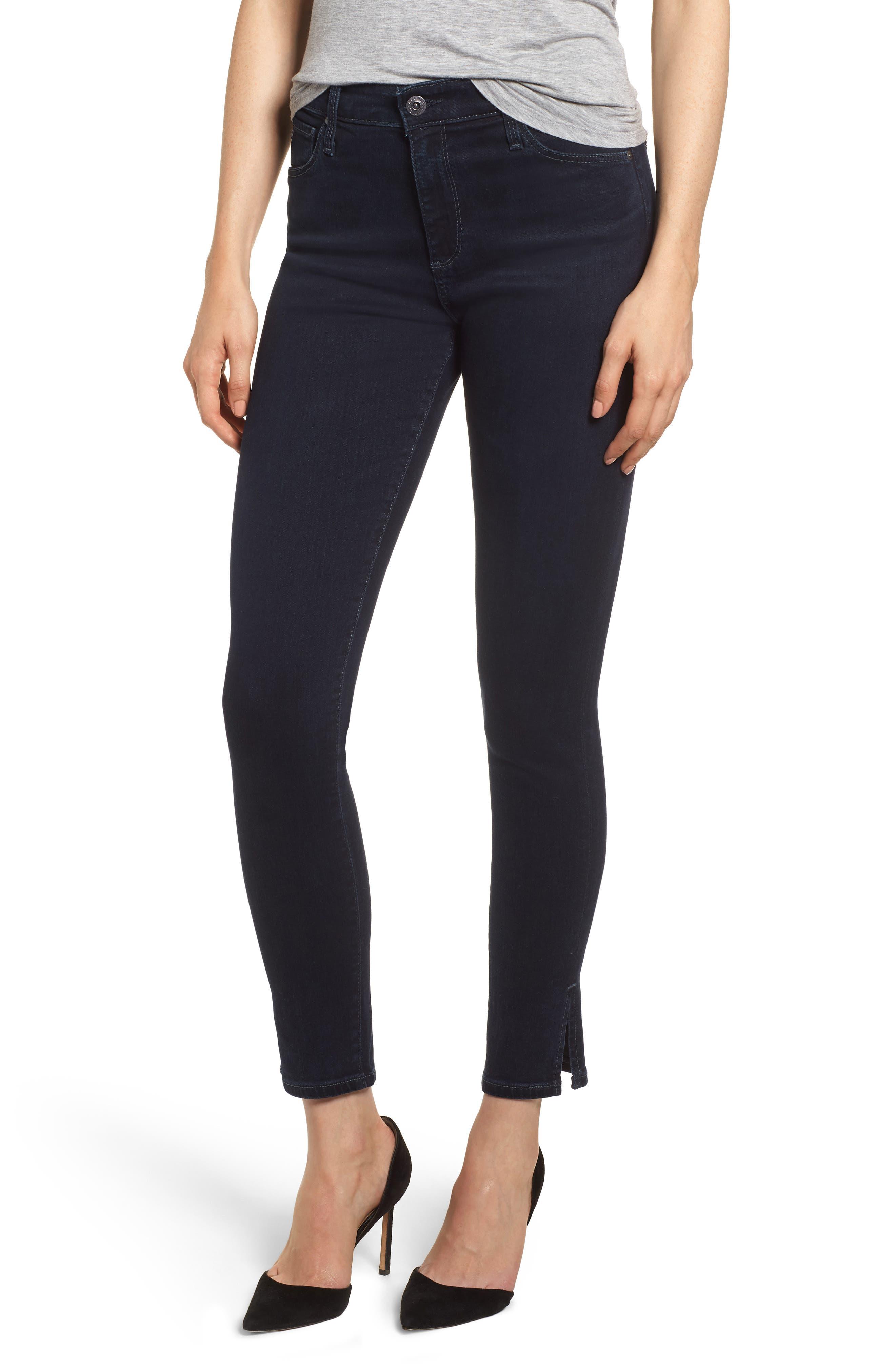 Farrah High Waist Split Hem Skinny Jeans,                         Main,                         color, YARD BIRD