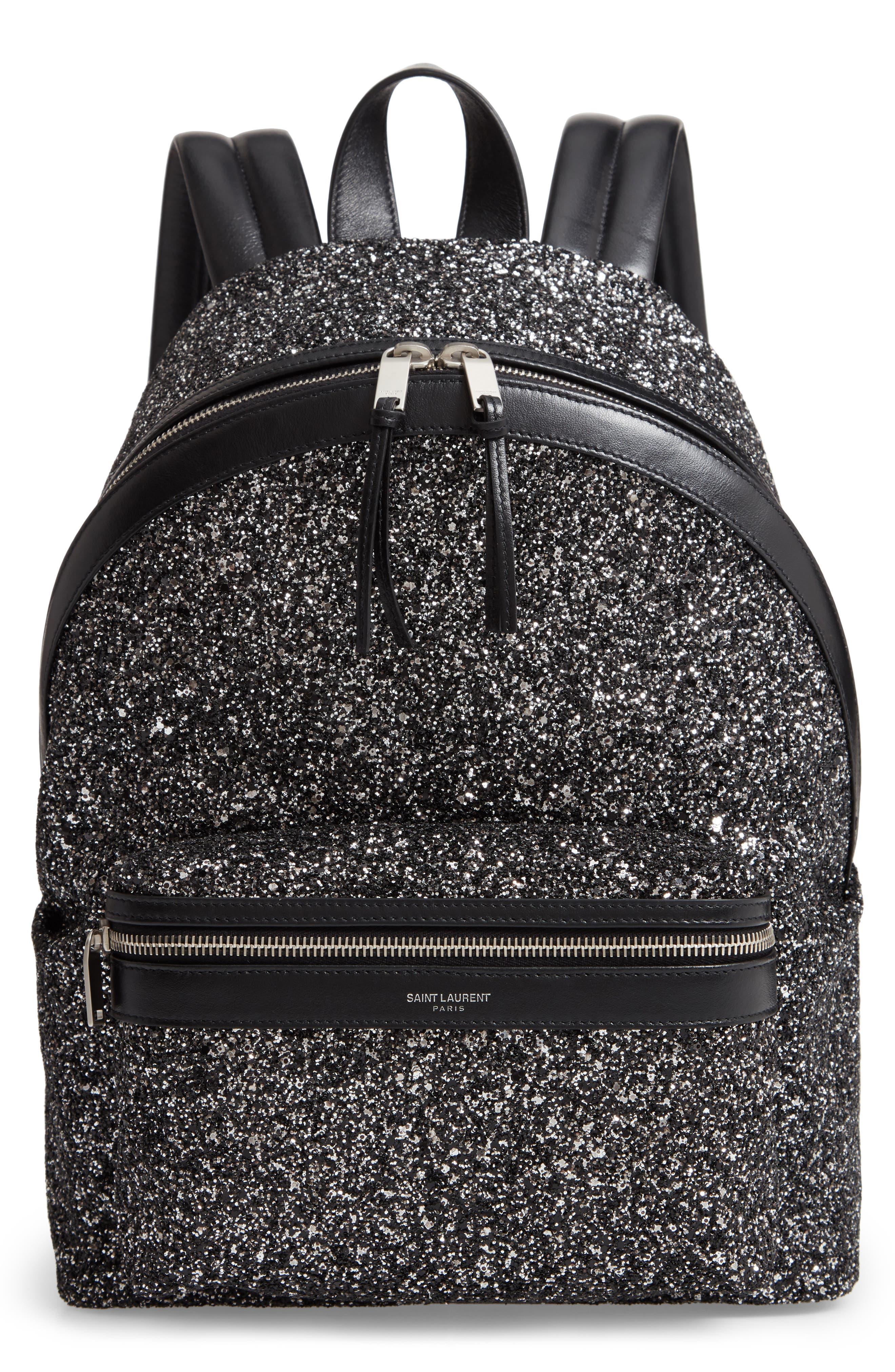 SAINT LAURENT Mini City Glitter Backpack, Main, color, NERO/ GUN METAL