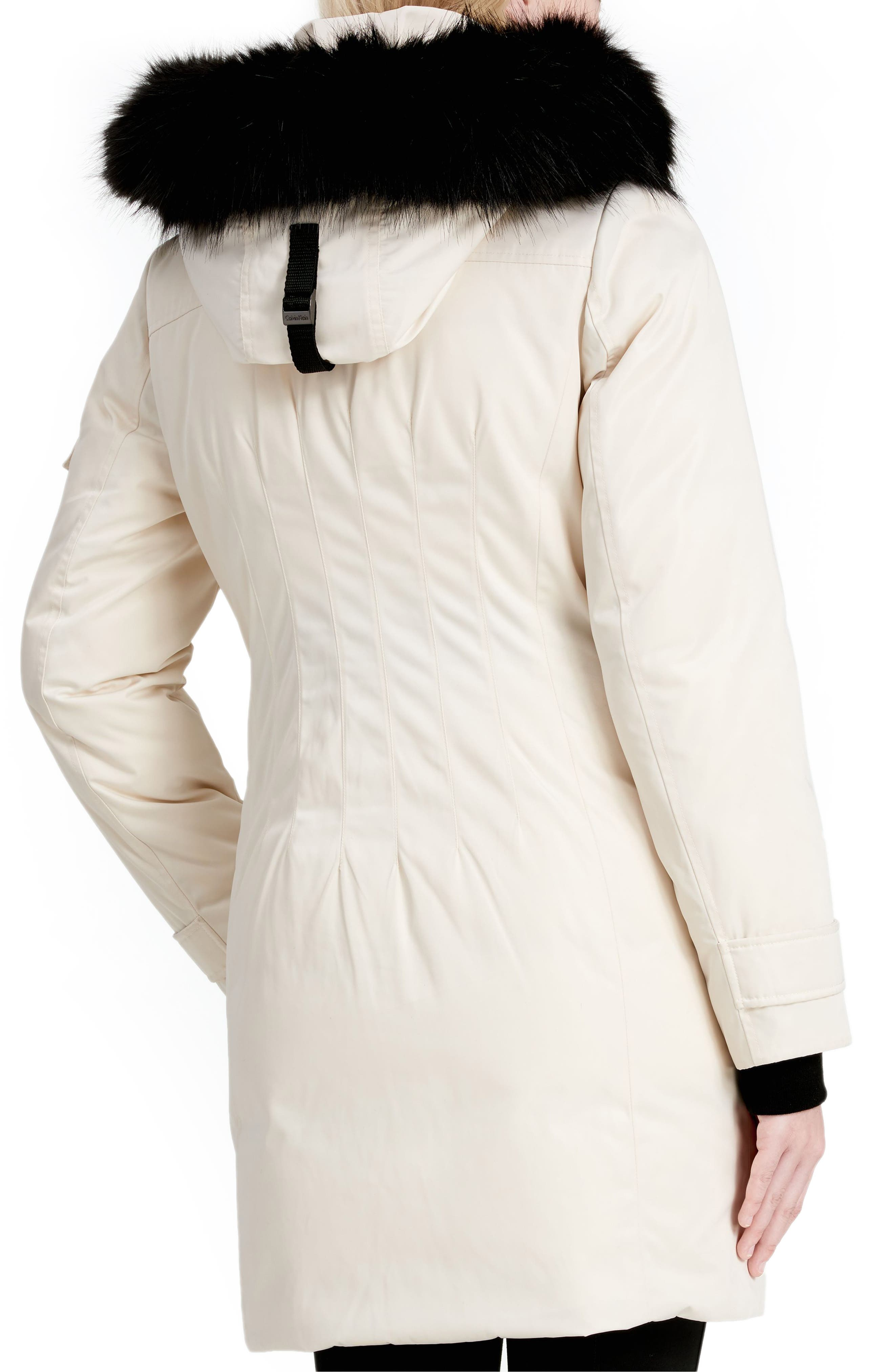 Calvien Klein Hooded Down Parka with Removable Faux Fur Collar,                             Alternate thumbnail 4, color,