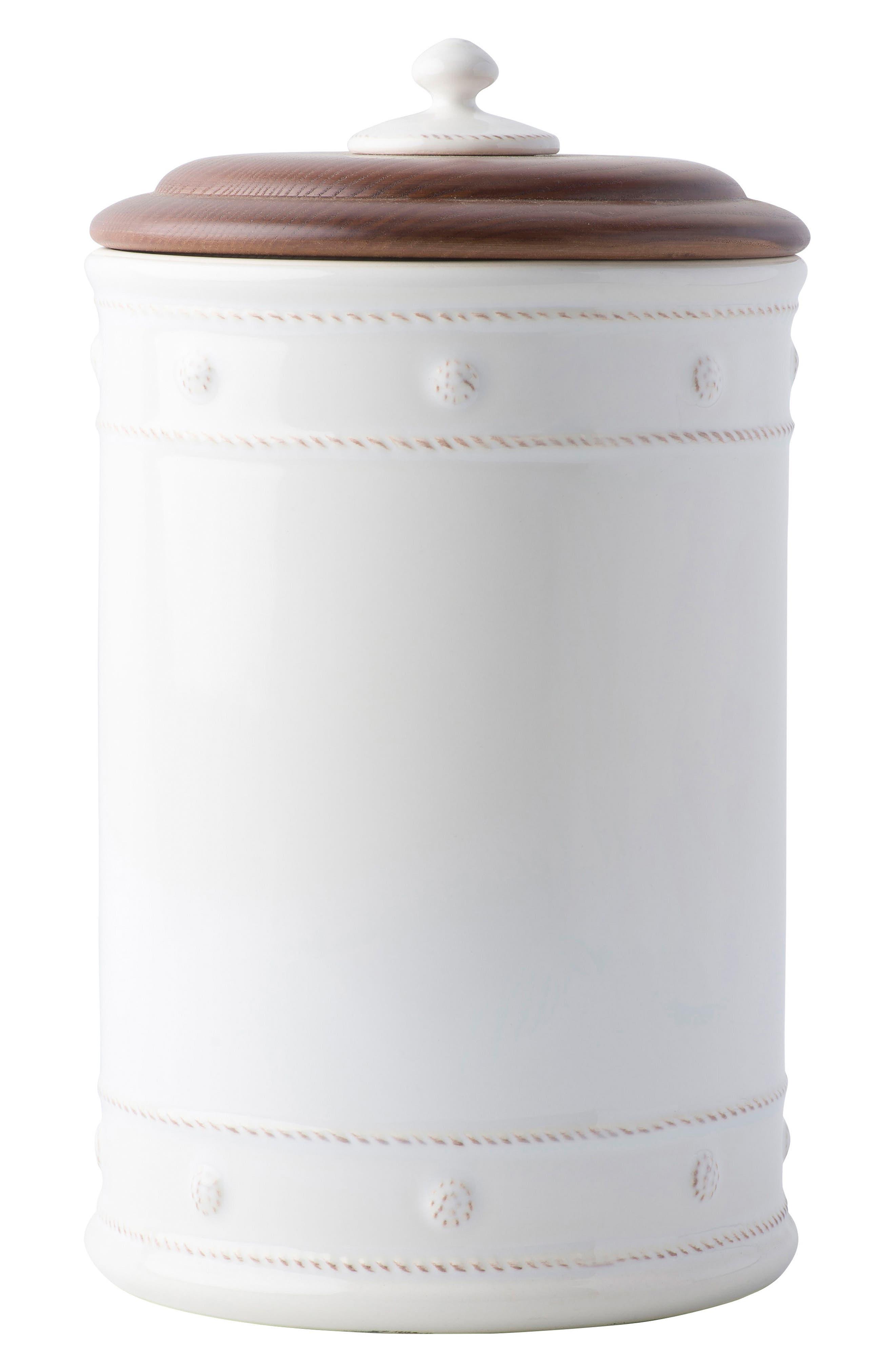 Berry & Thread Whitewash Ceramic Canister,                             Main thumbnail 1, color,                             WHITEWASH