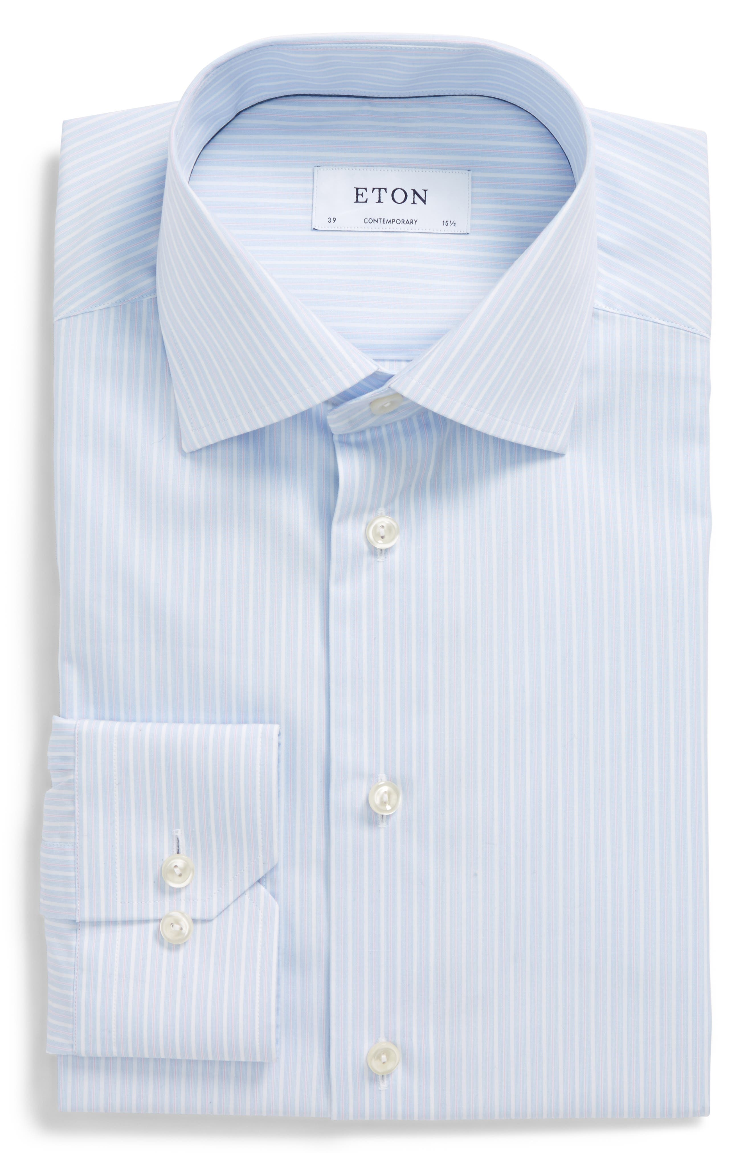 Contemporary Fit Stripe Dress Shirt,                             Alternate thumbnail 5, color,                             650