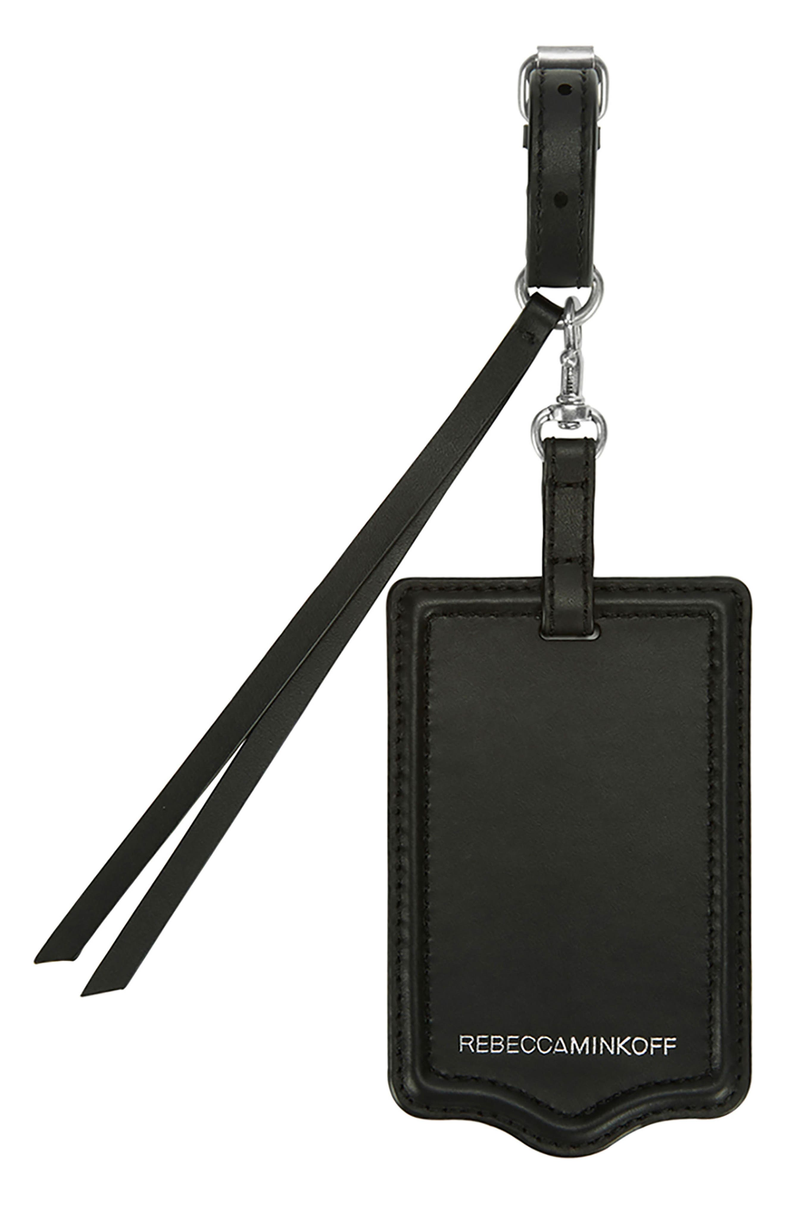 Leather Luggage Tag,                         Main,                         color, 001