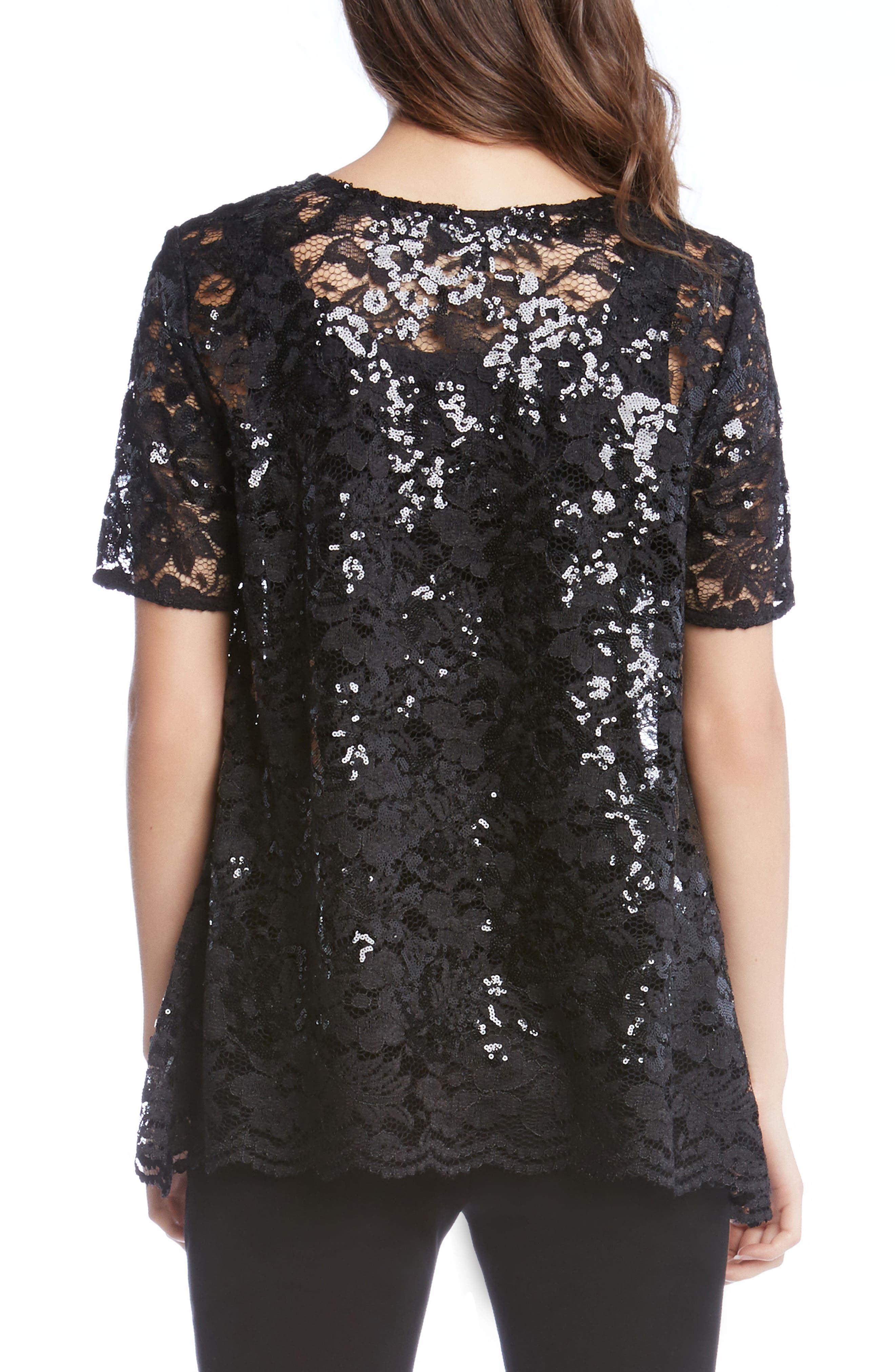 Sequin Lace Flare Top,                             Alternate thumbnail 3, color,