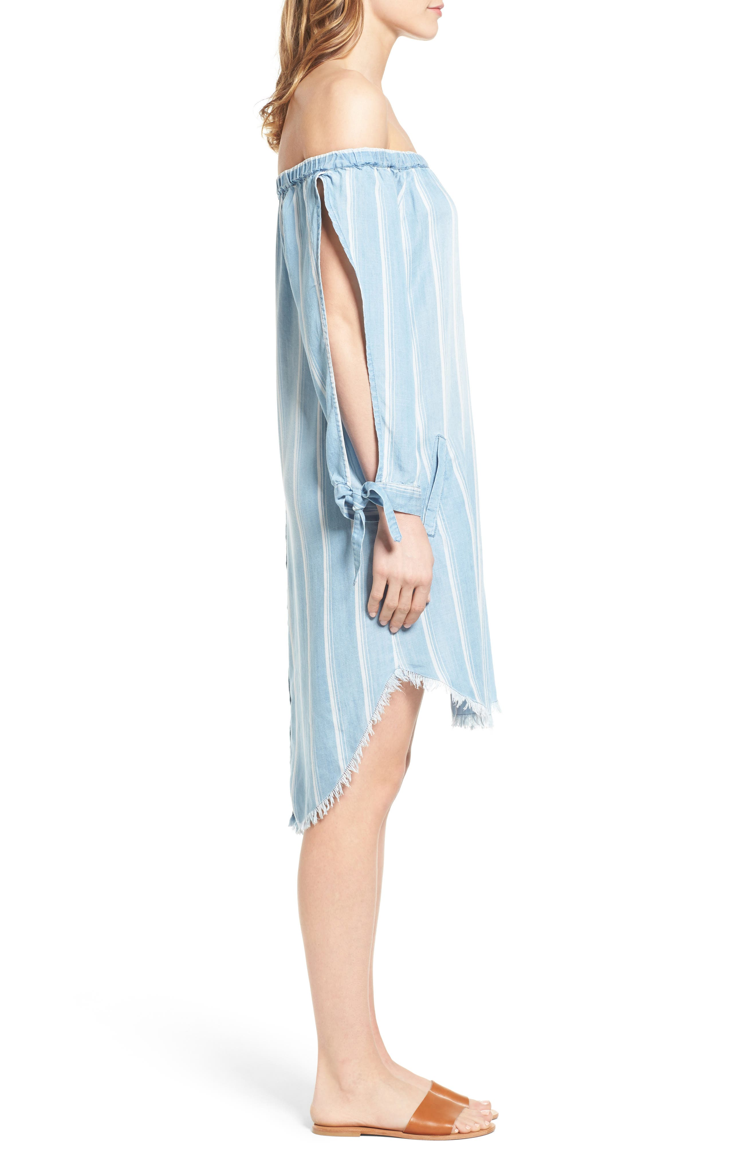 Off the Shoulder Stripe Chambray Dress,                             Alternate thumbnail 3, color,                             400