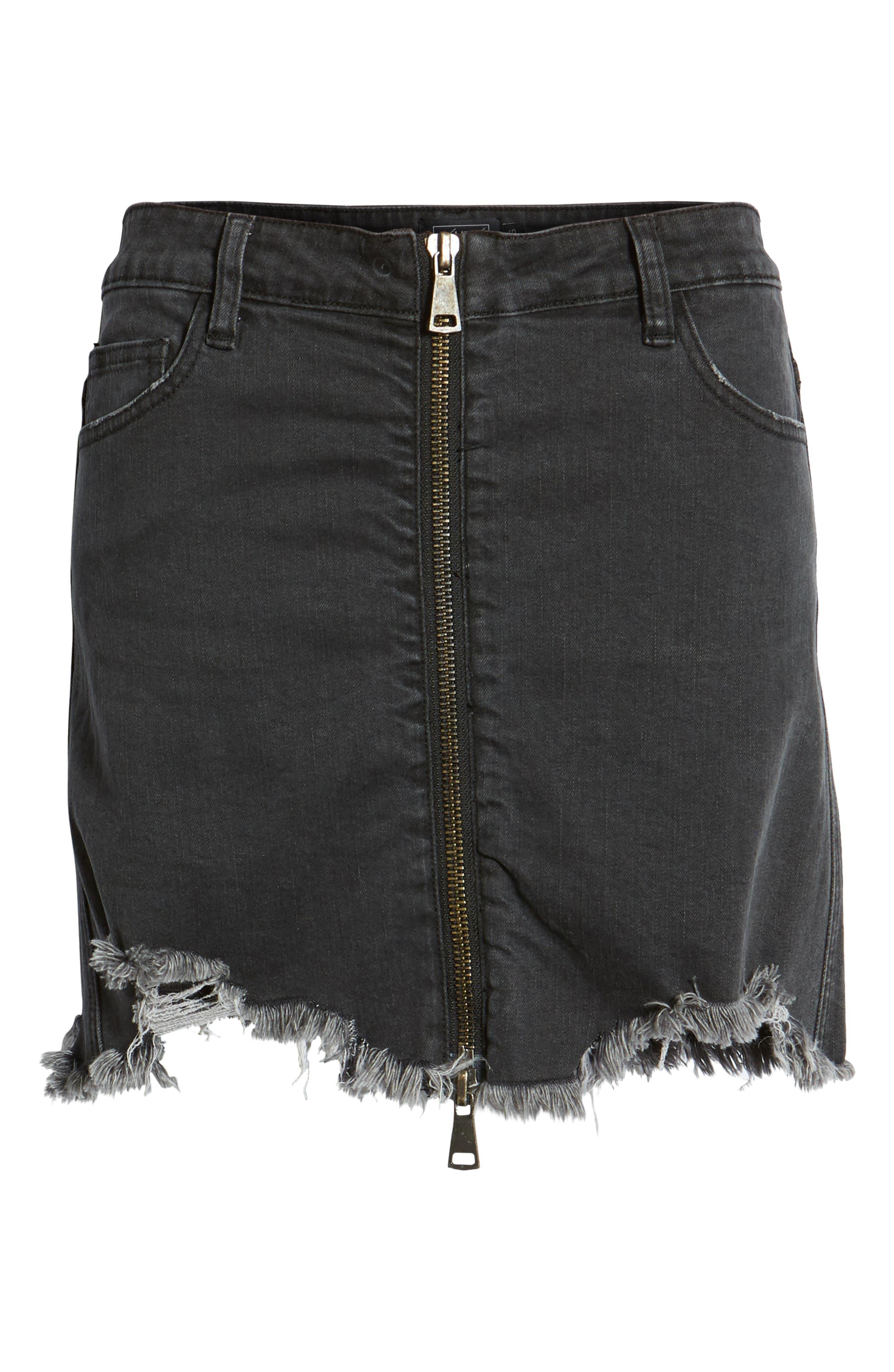 Cobra Ripped Denim Skirt,                             Alternate thumbnail 7, color,                             BLACK