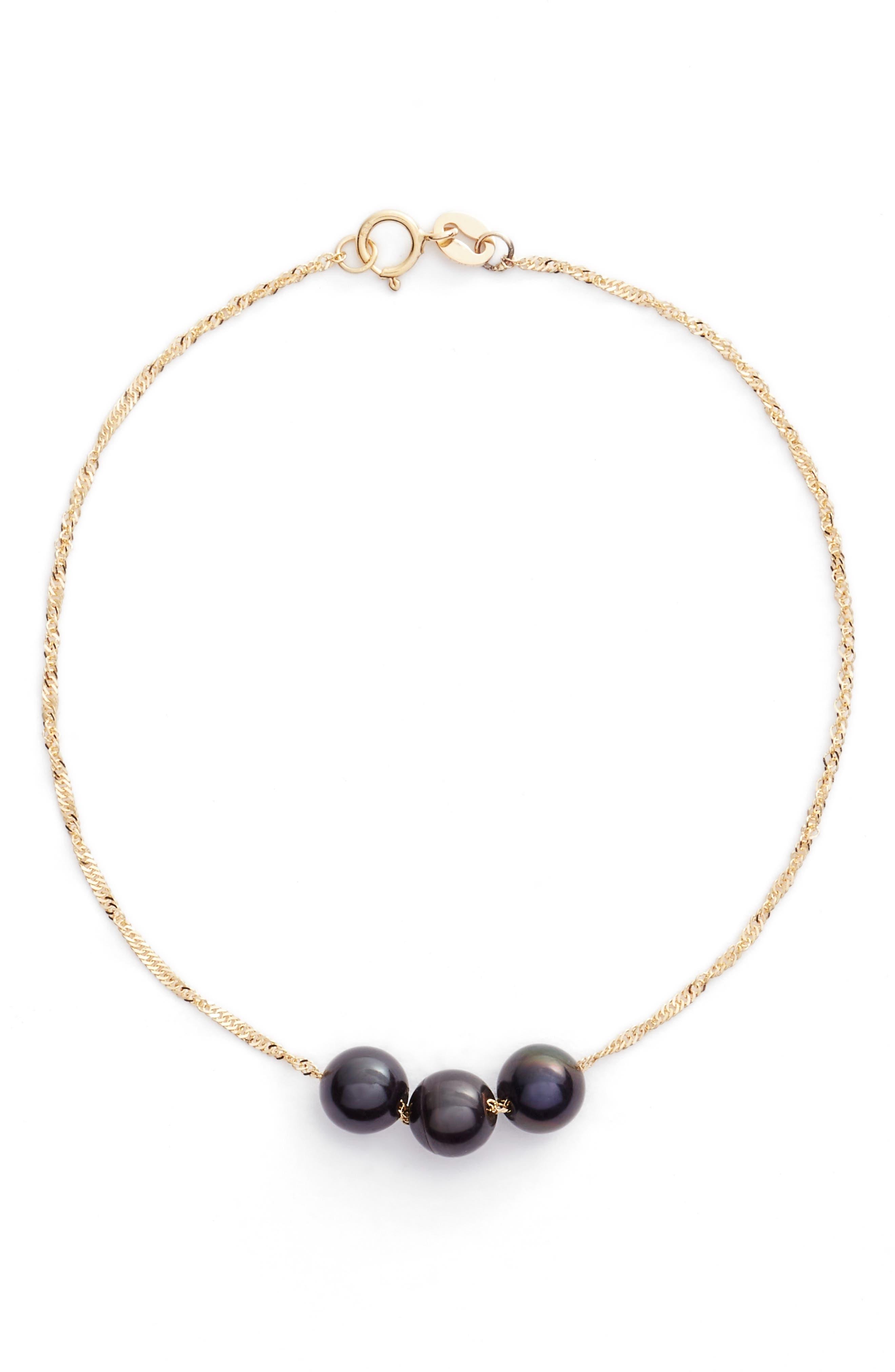 Triple Pearl Line Bracelet,                         Main,                         color, YELLOW GOLD/ BLACK PEARL