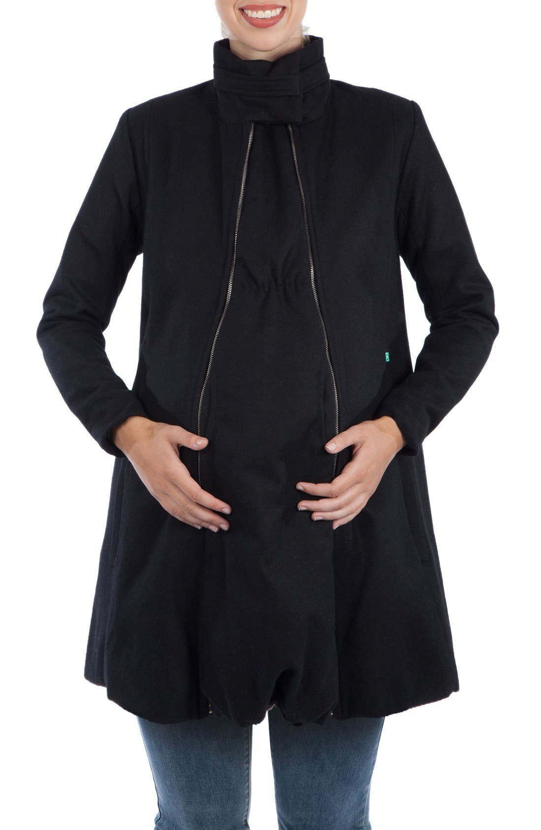 A-Line Convertible 3-in-1 Maternity Swing Coat,                         Main,                         color, BLACK