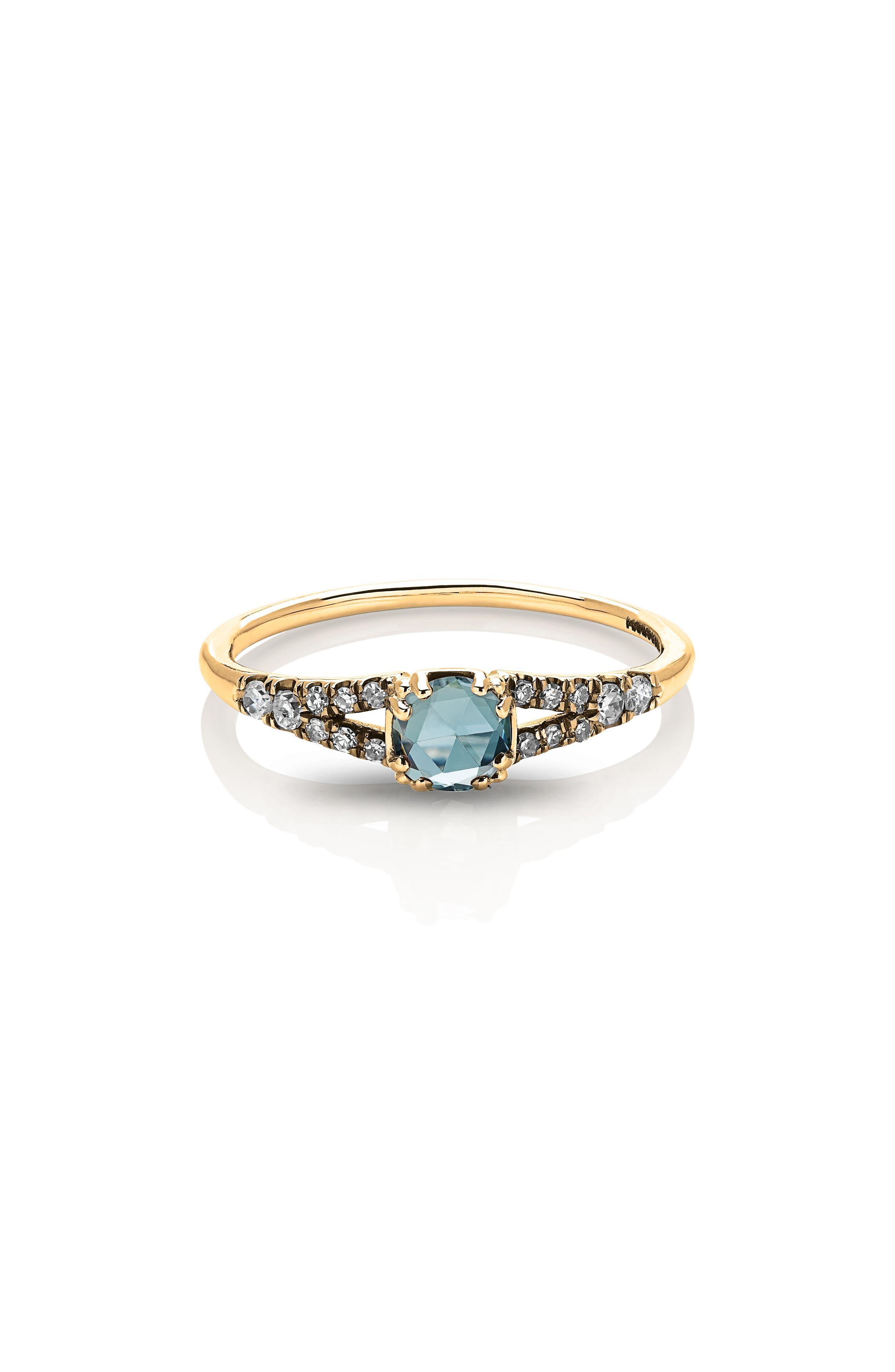 Devotion Solitaire Diamond Ring,                             Main thumbnail 1, color,                             YELLOW GOLD/ AQUAMARINE