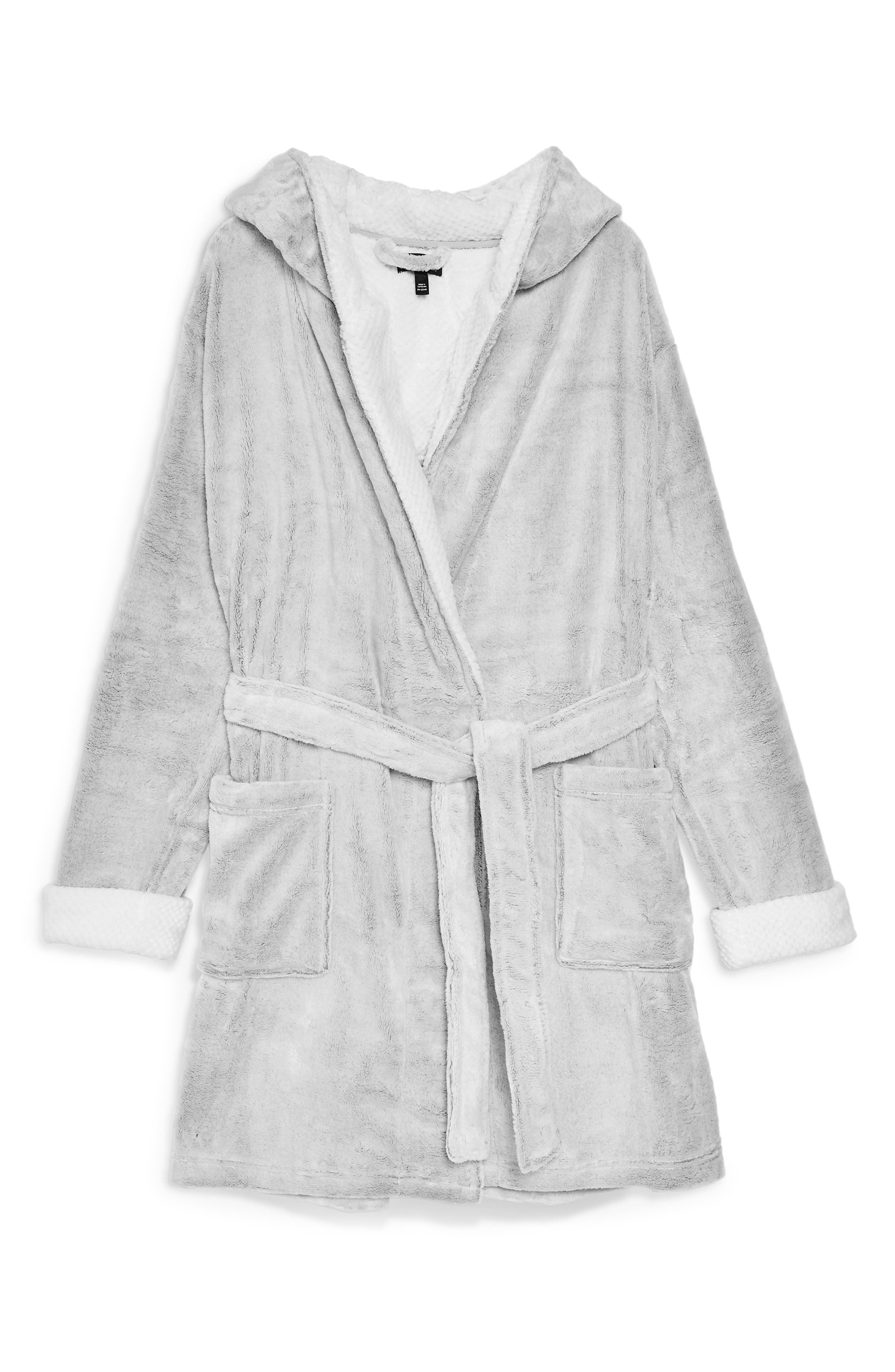 Frosted Waffle Hooded Fleece Robe,                             Alternate thumbnail 3, color,                             040