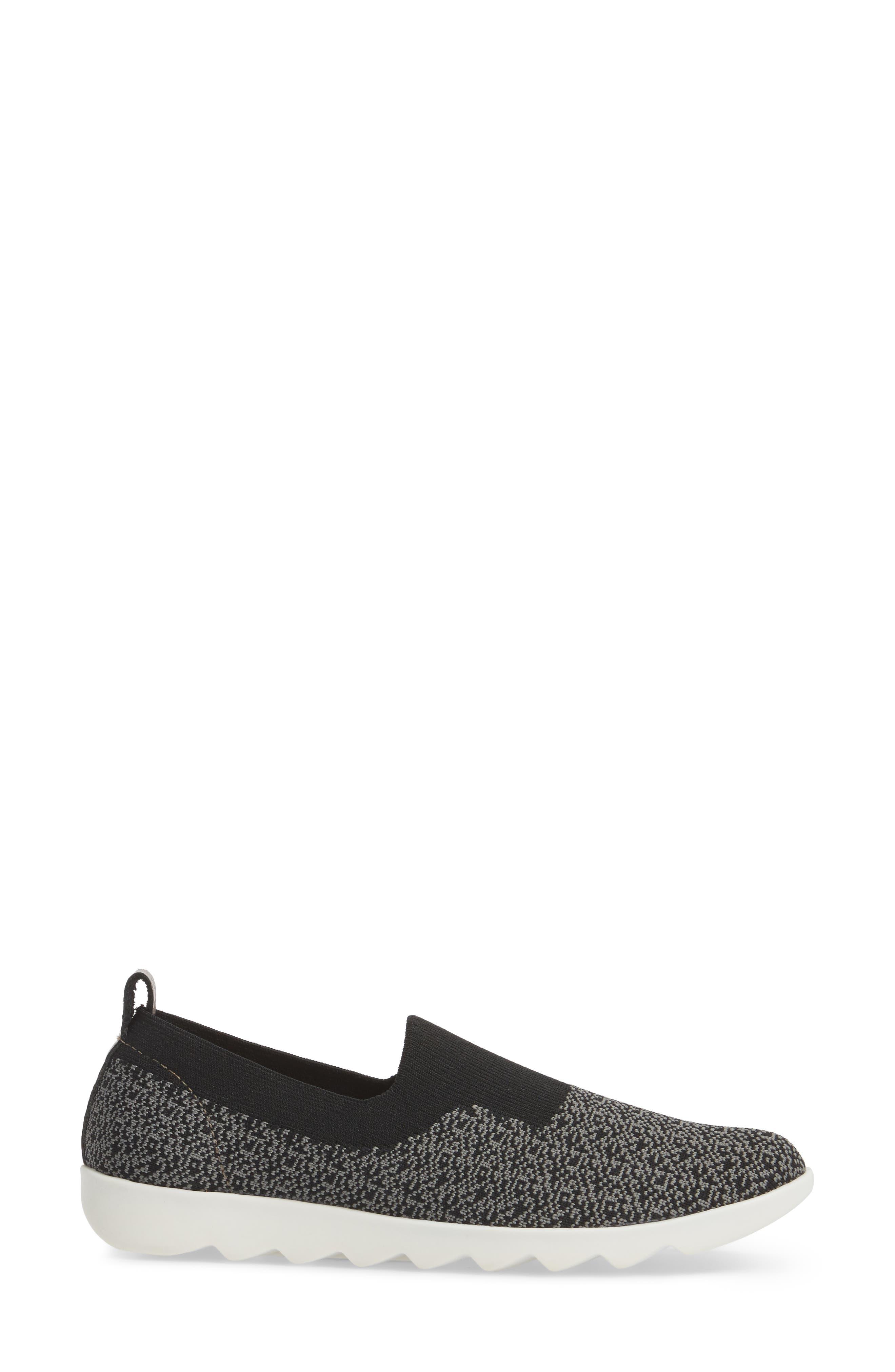 COMFORTIVA,                             Ginger Sock Fit Sneaker,                             Alternate thumbnail 3, color,                             BLACK FABRIC