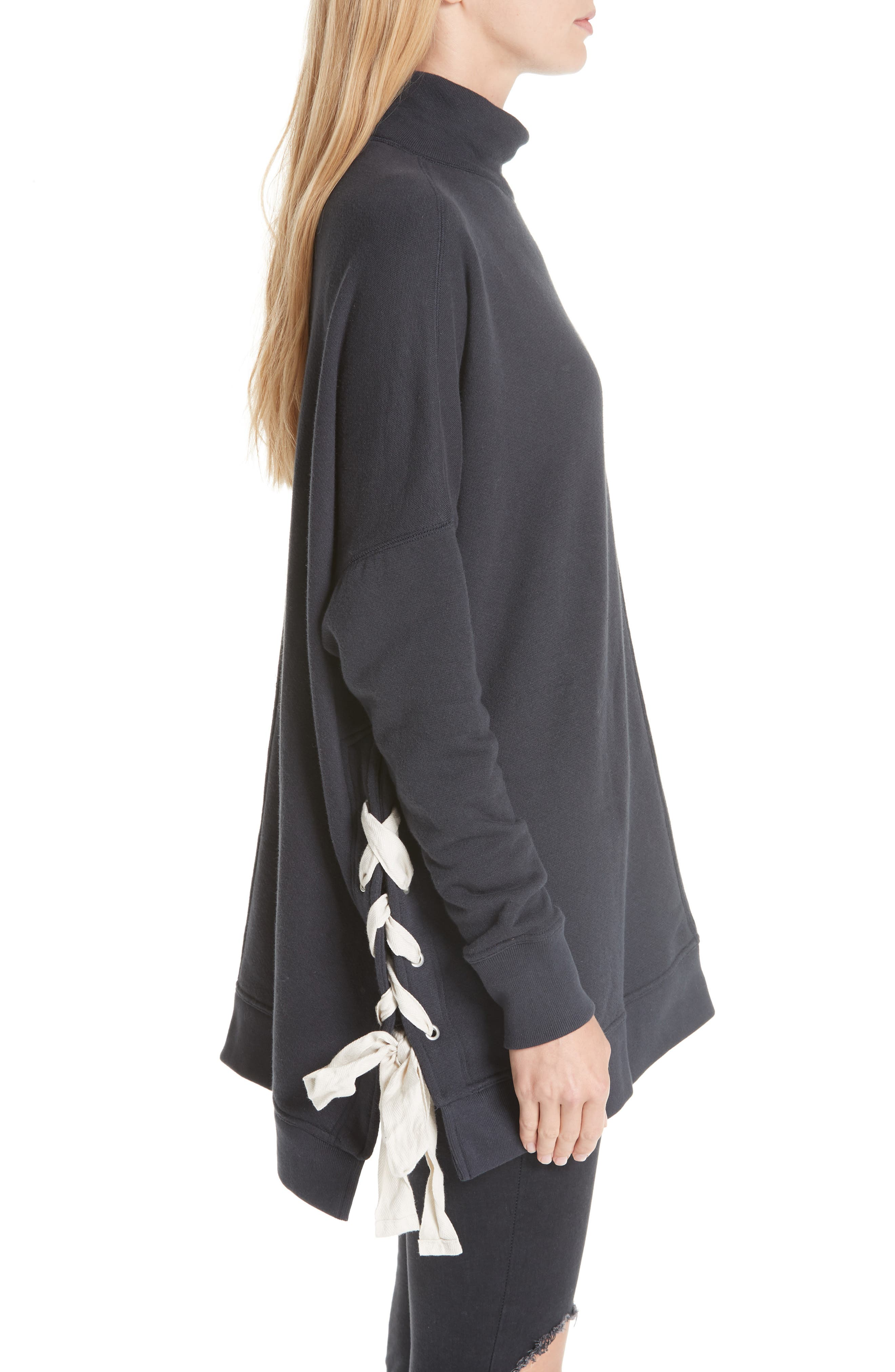 So Plush Lace-Up Pullover,                             Alternate thumbnail 3, color,                             001