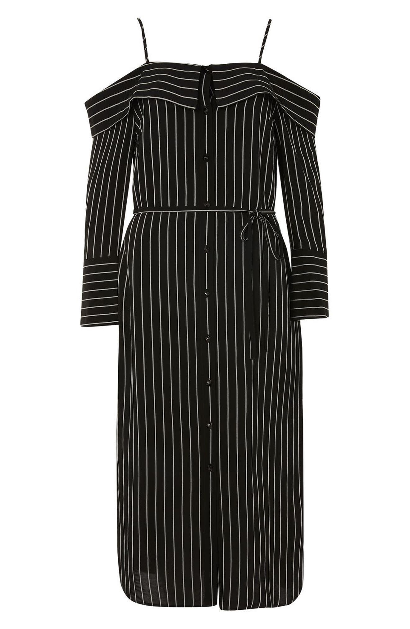 Pinstripe Midi Shirtdress,                             Alternate thumbnail 4, color,                             001