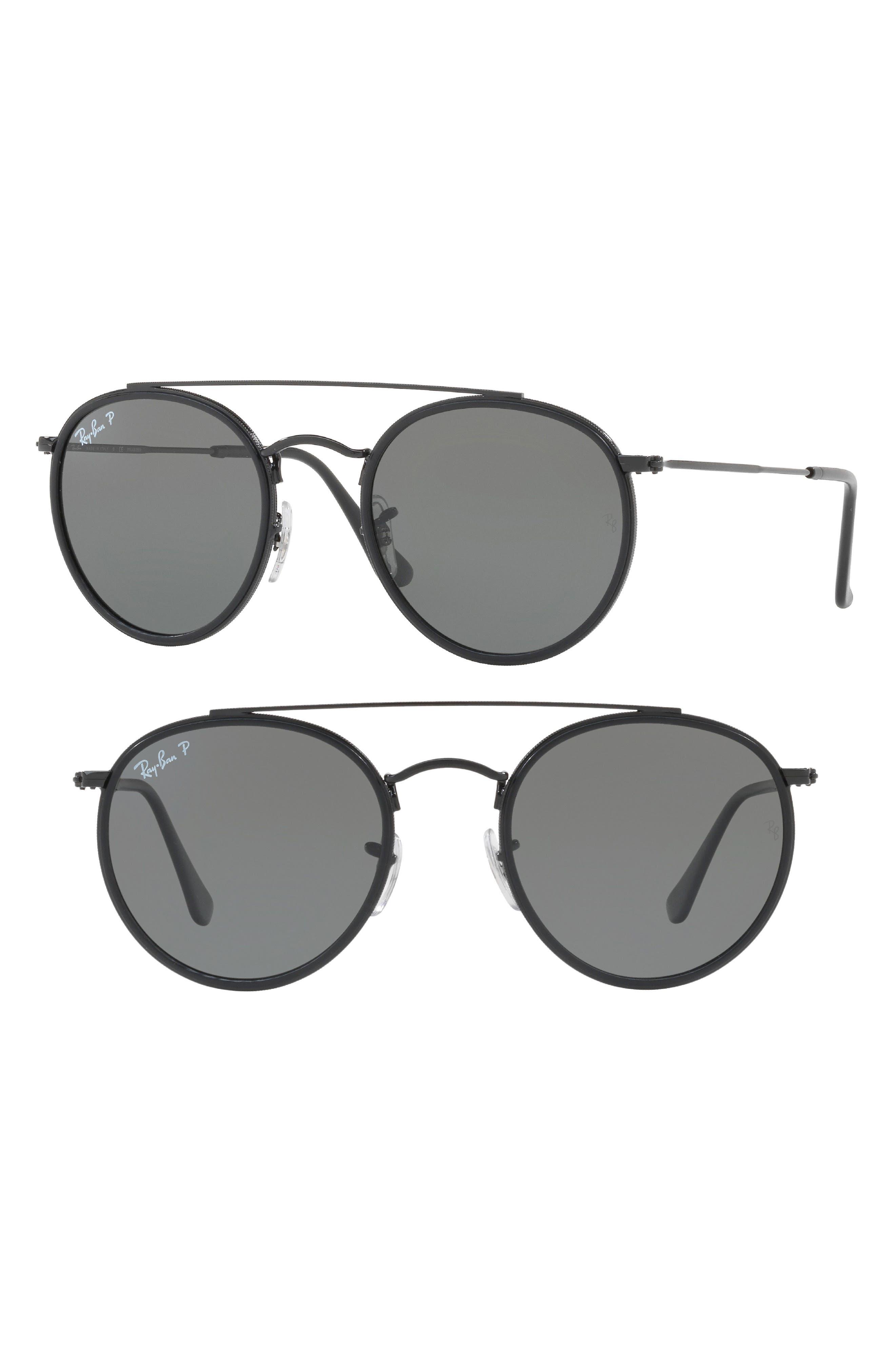 51mm Polarized Round Sunglasses,                             Main thumbnail 1, color,                             001