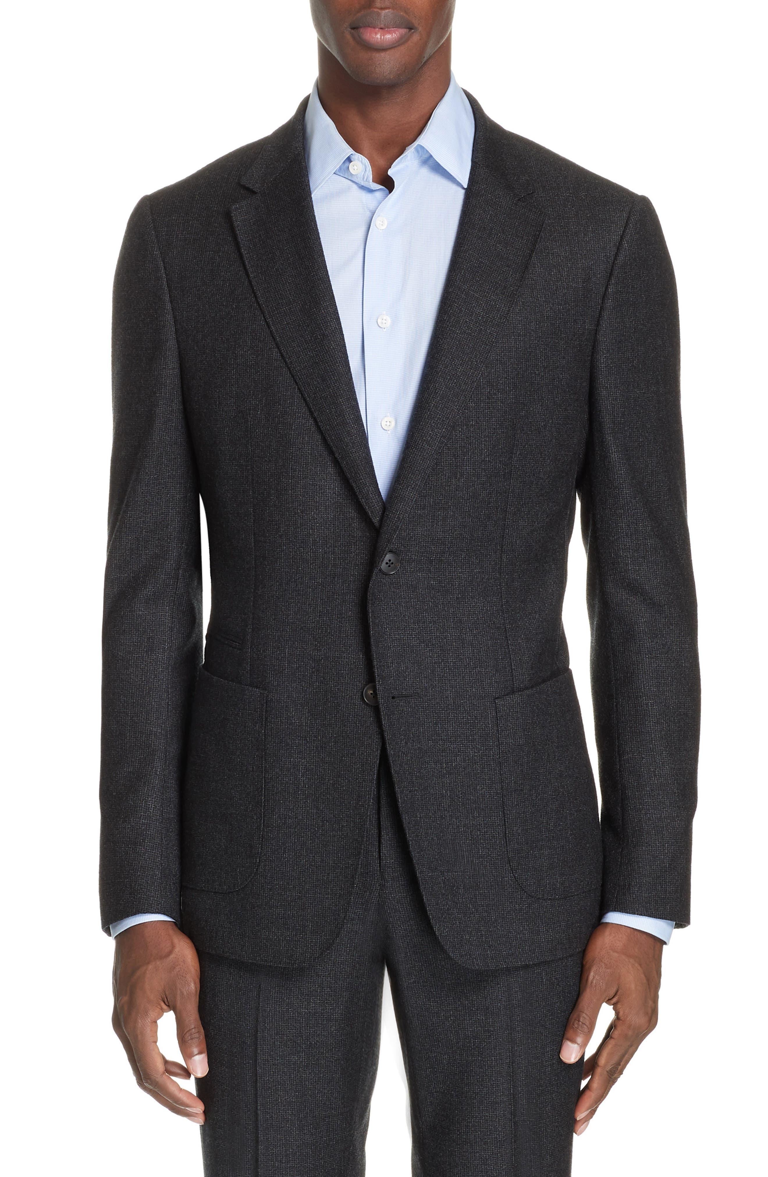 Trim Fit Wash & Go Solid Wool Suit,                             Alternate thumbnail 5, color,                             GREY