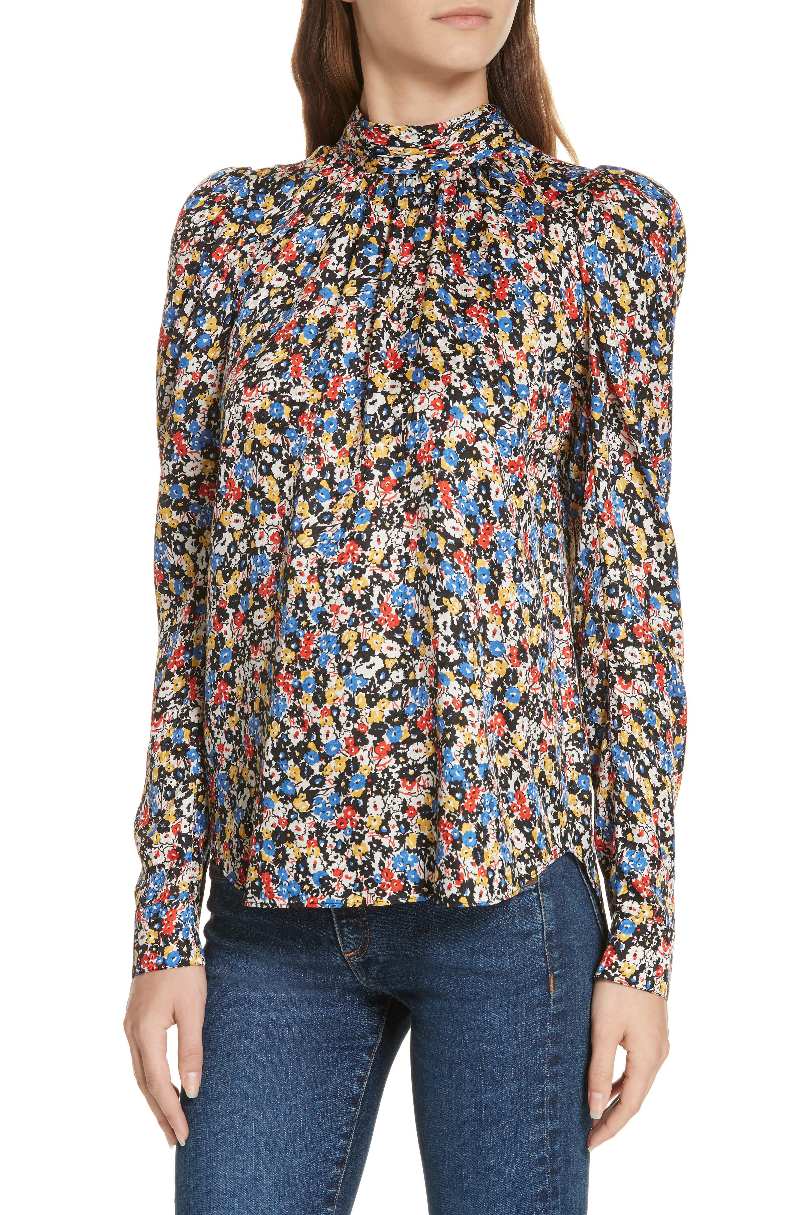 Mena Floral Stretch Silk Top,                             Alternate thumbnail 4, color,                             BLACK MULTI
