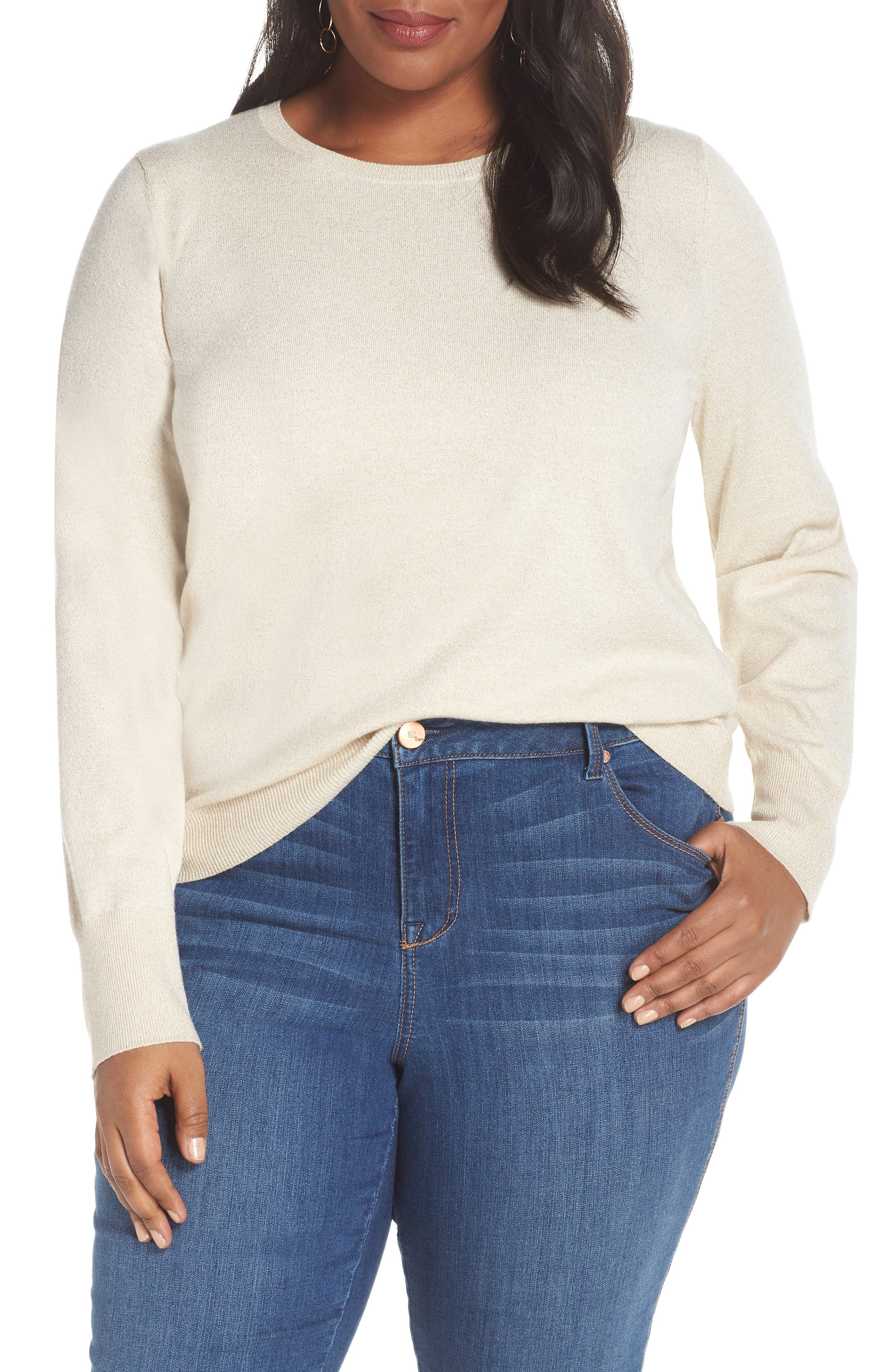 Shimmer Knit Sweater,                         Main,                         color, OATMEAL
