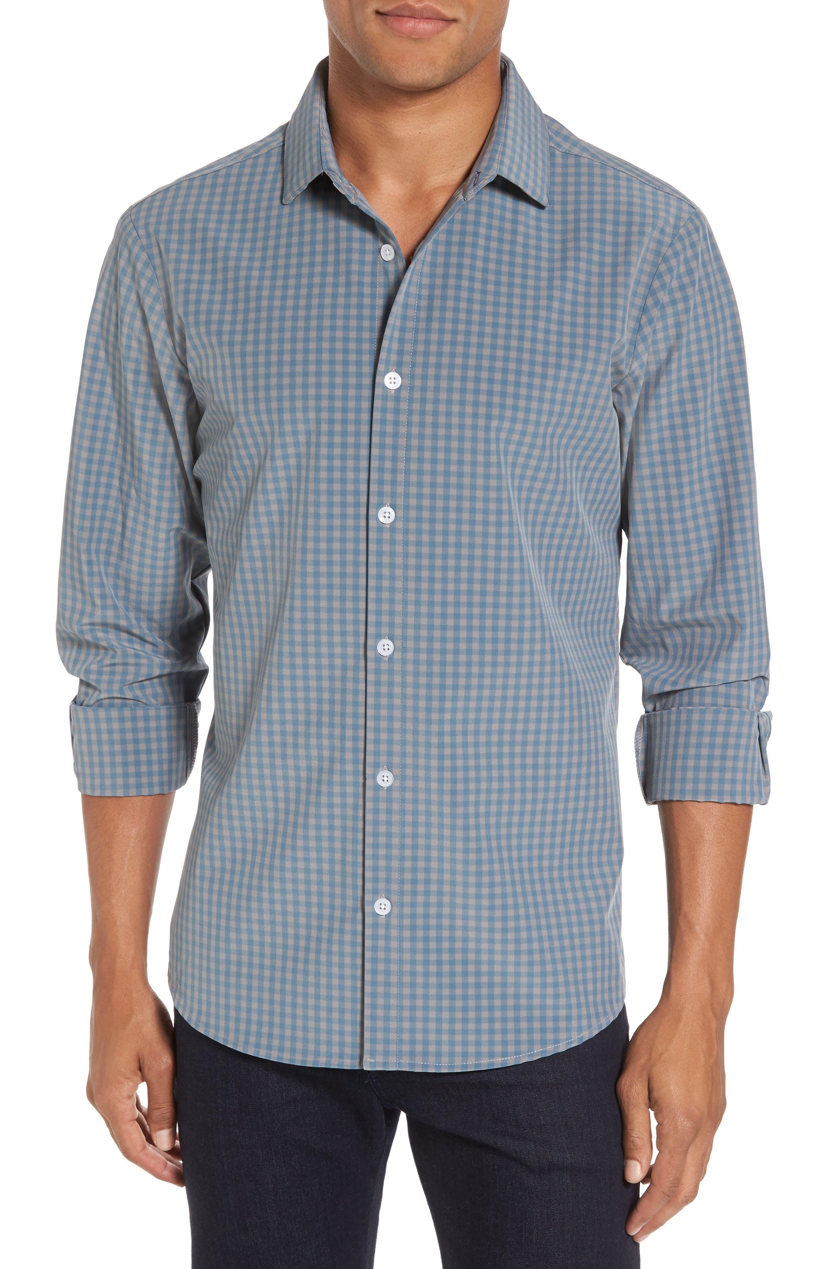 Knox Blue Smoke & Grey Gingham Sport Shirt,                         Main,                         color, 400