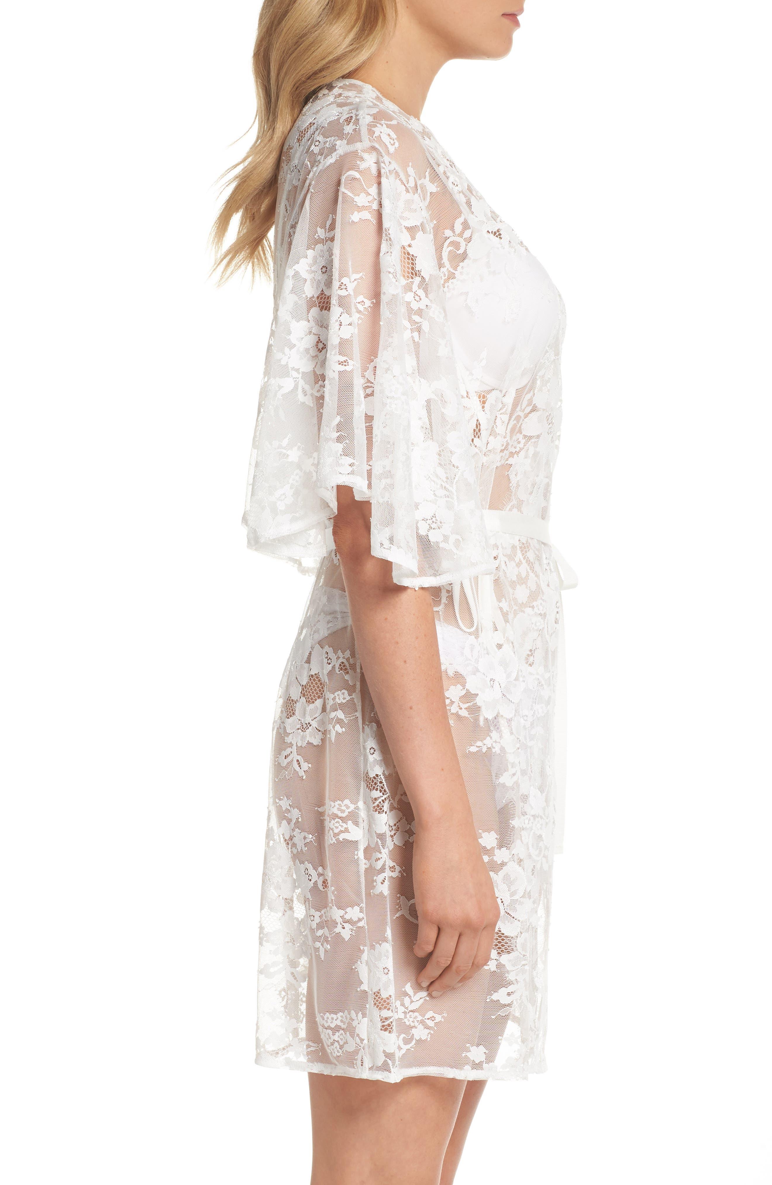 Kassiah Short Lace Wrap,                             Alternate thumbnail 3, color,                             WHITE