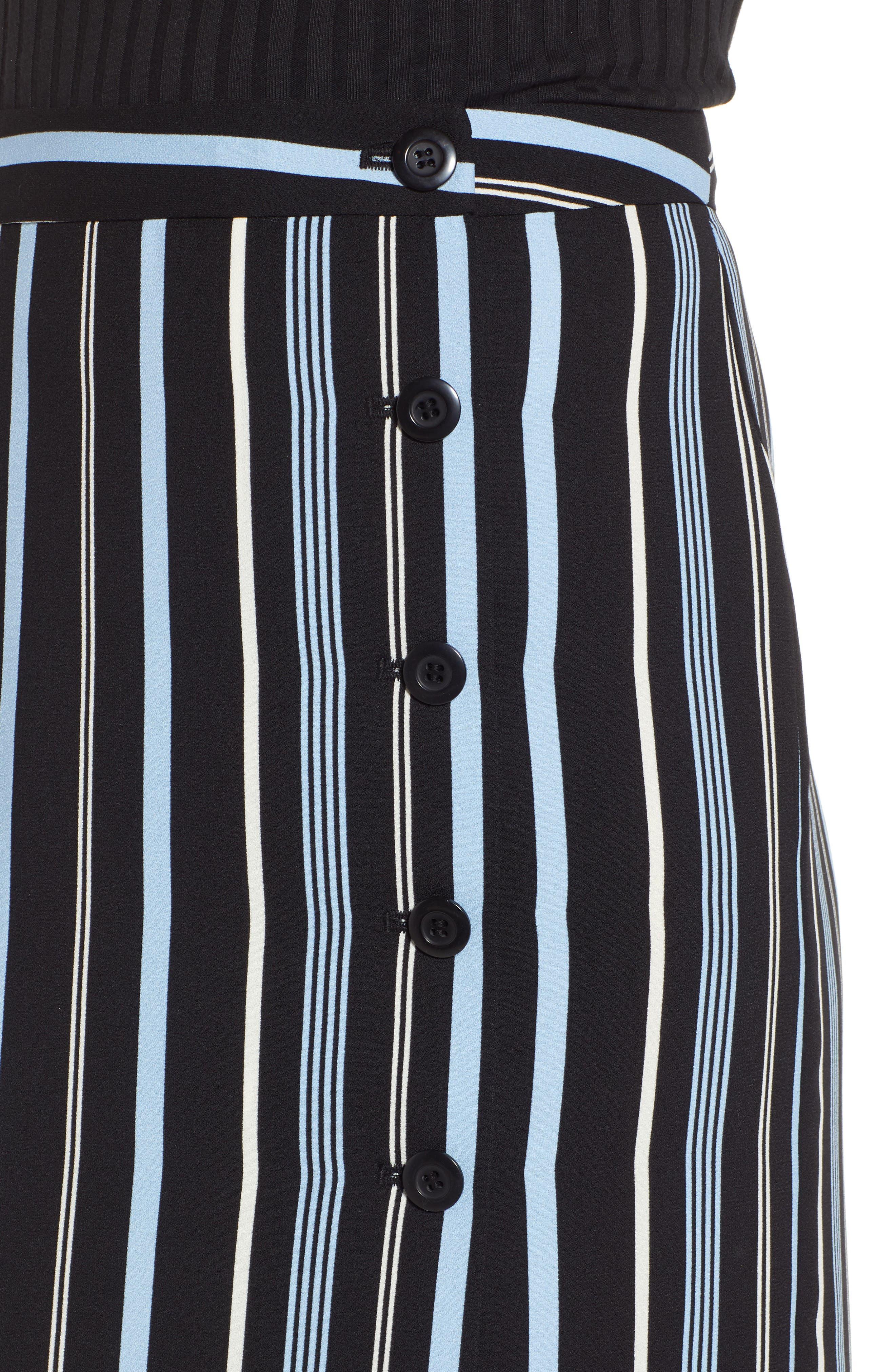 Button Wrap Skirt,                             Alternate thumbnail 5, color,                             BLACK MULTI COLORED STRIPE