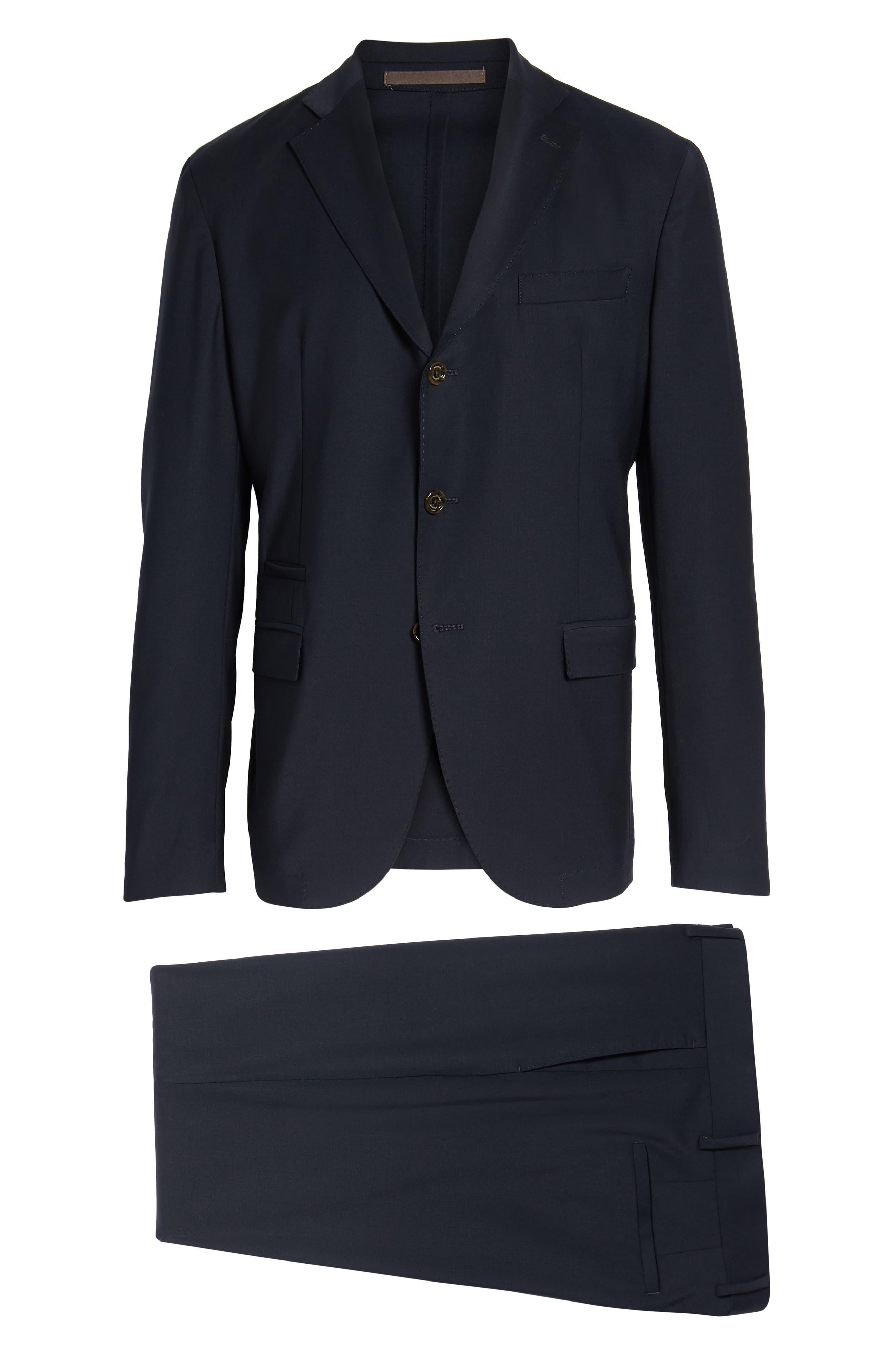 Trim Fit Stretch Wool Suit,                             Alternate thumbnail 16, color,