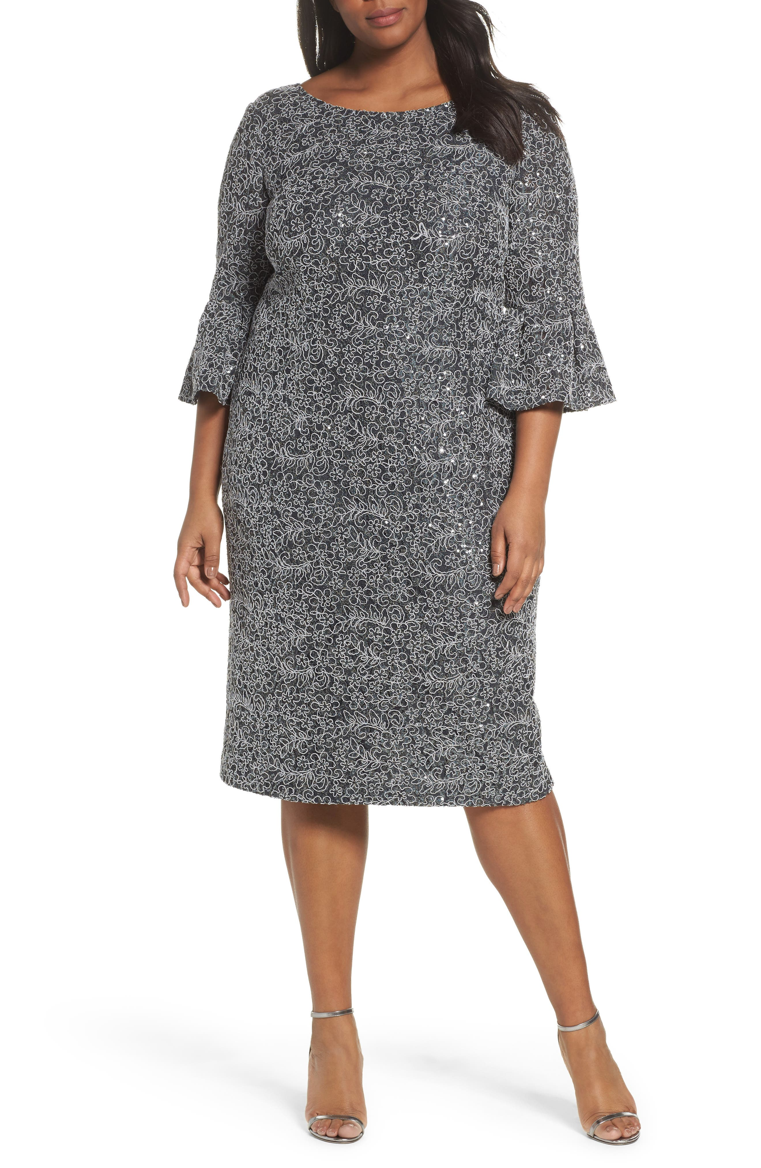 Plus Size Alex Evenings Embroidered Lace Shift Dress