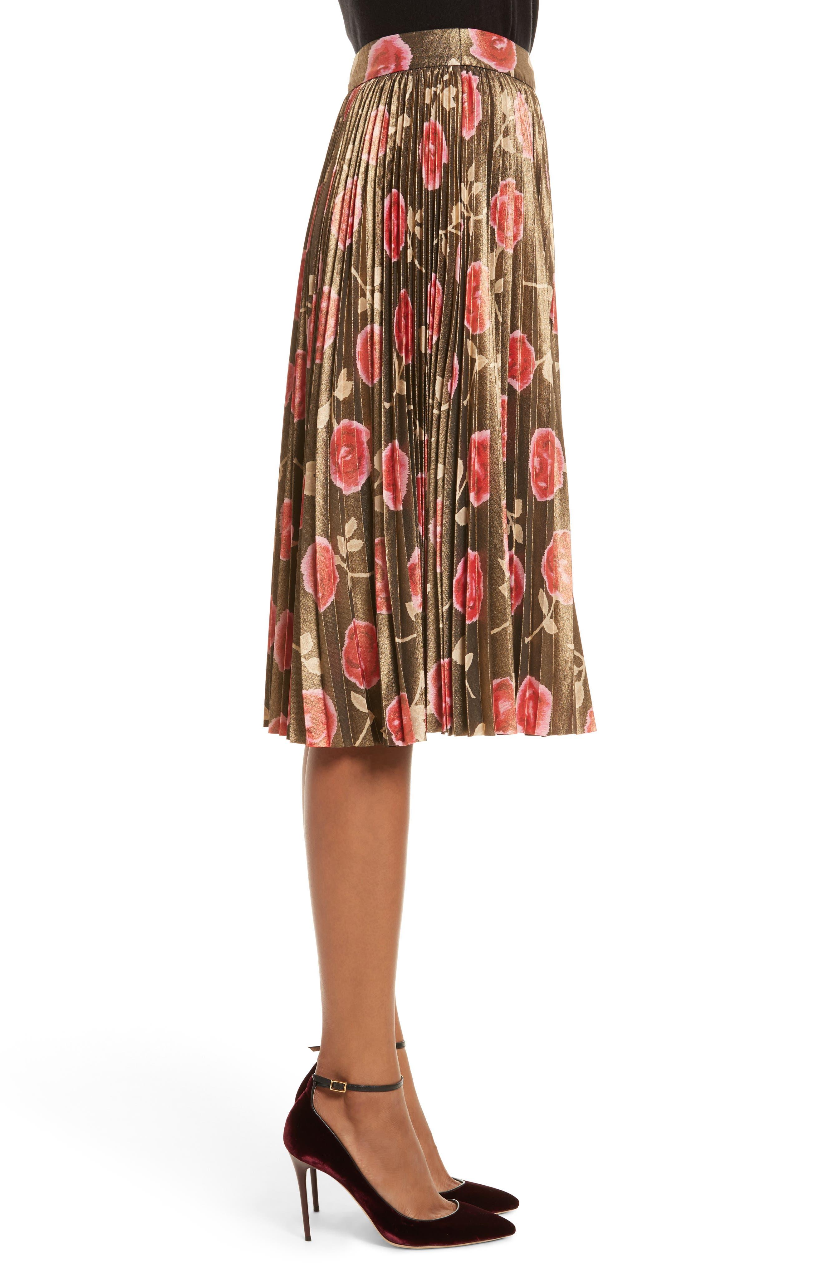 hazy rose pleated metallic skirt,                             Alternate thumbnail 3, color,                             006