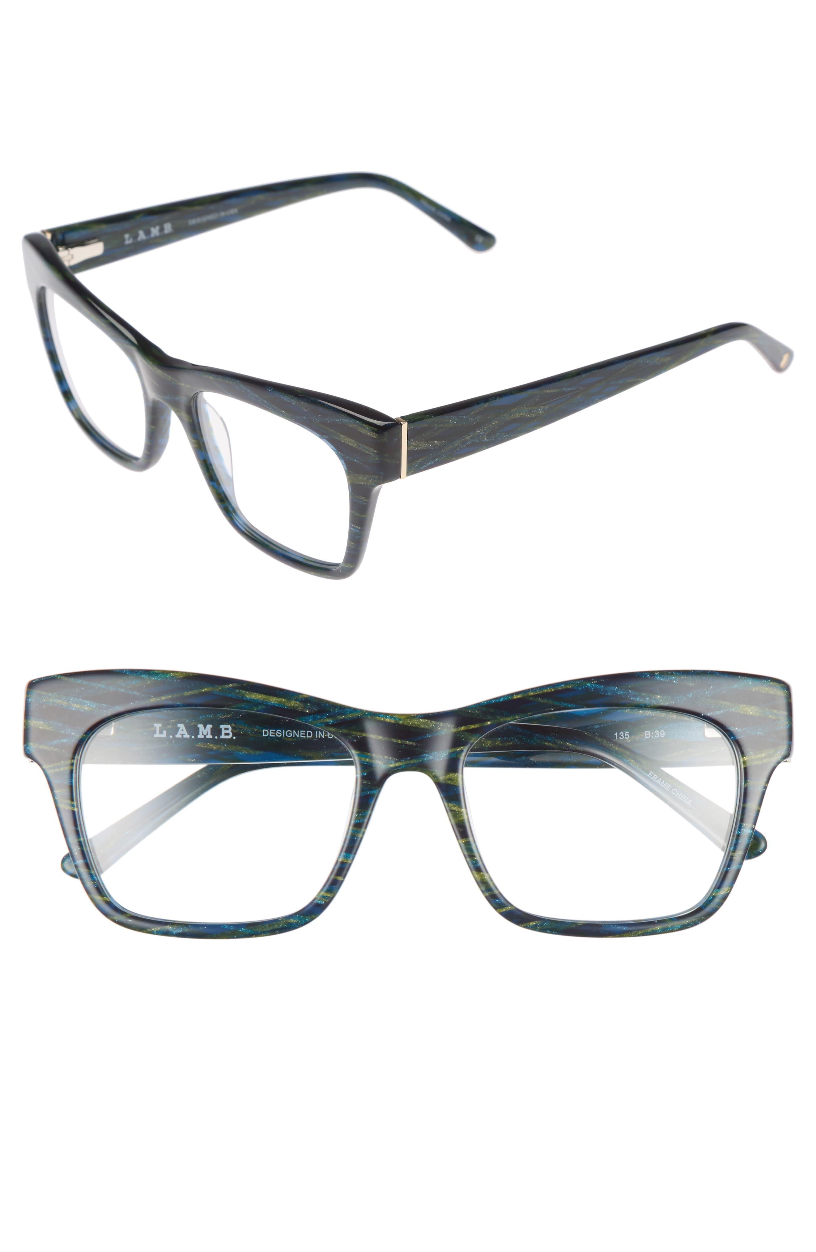 50mm Optical Rectangular Glasses,                             Main thumbnail 1, color,