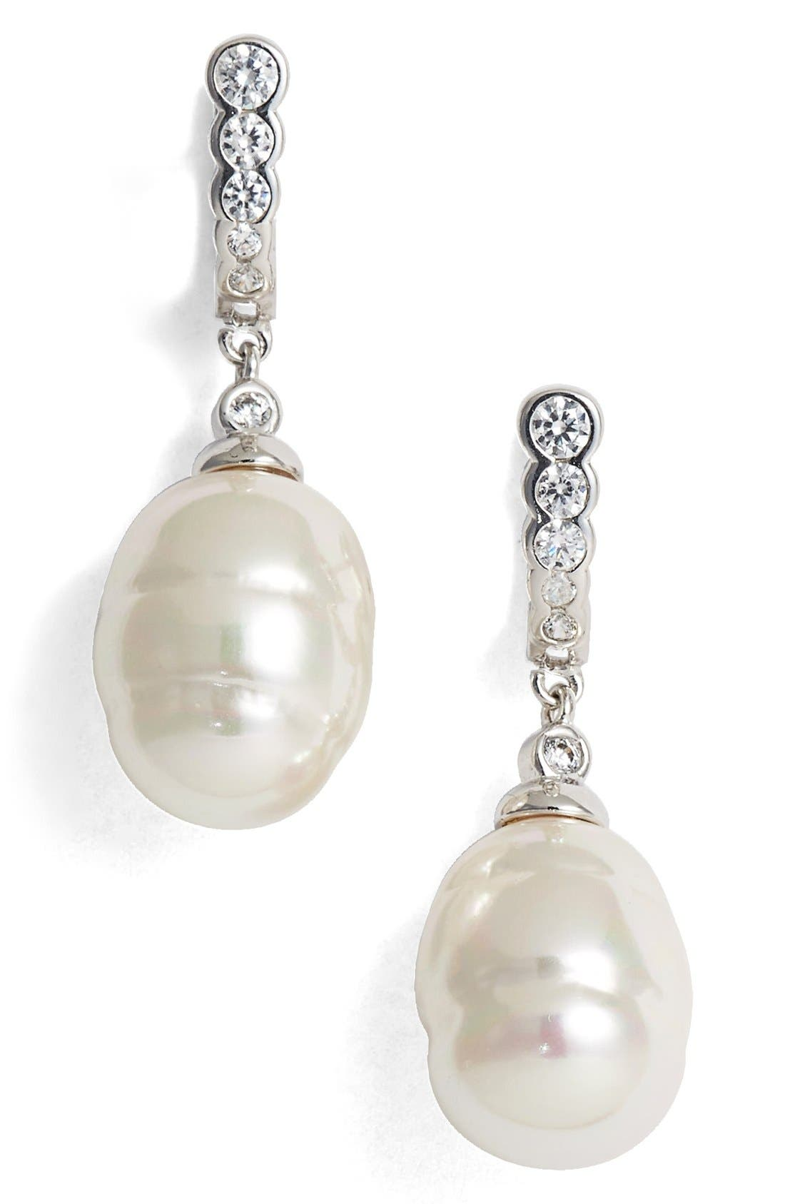 14mm Simulated Baroque Pearl & Cubic Zirconia Drop Earrings,                             Main thumbnail 1, color,                             100