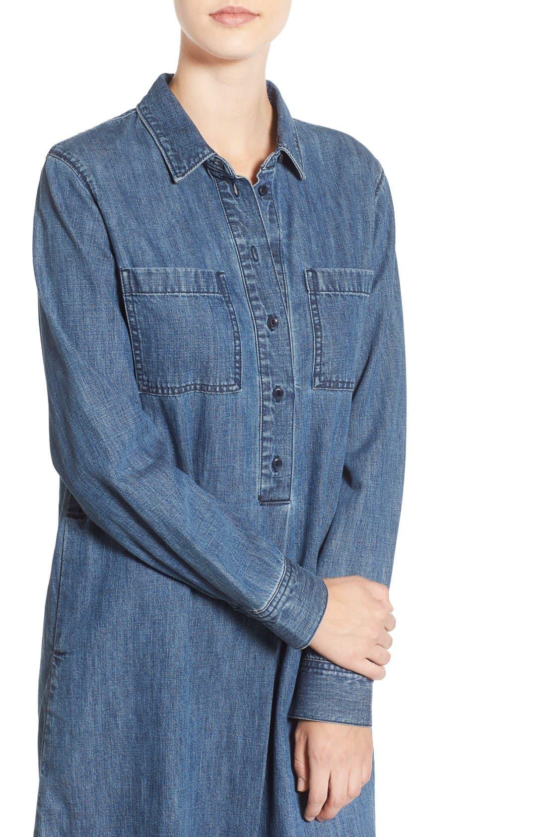 MADEWELL,                             Denim Shirtdress,                             Alternate thumbnail 4, color,                             405