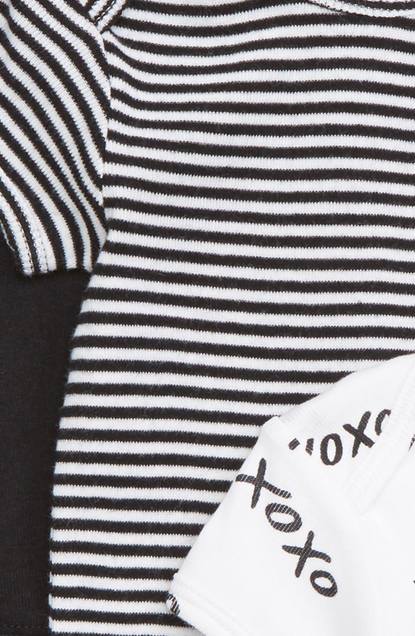 Short Sleeve Cotton Bodysuits,                             Alternate thumbnail 2, color,                             BLACK- WHITE PACK