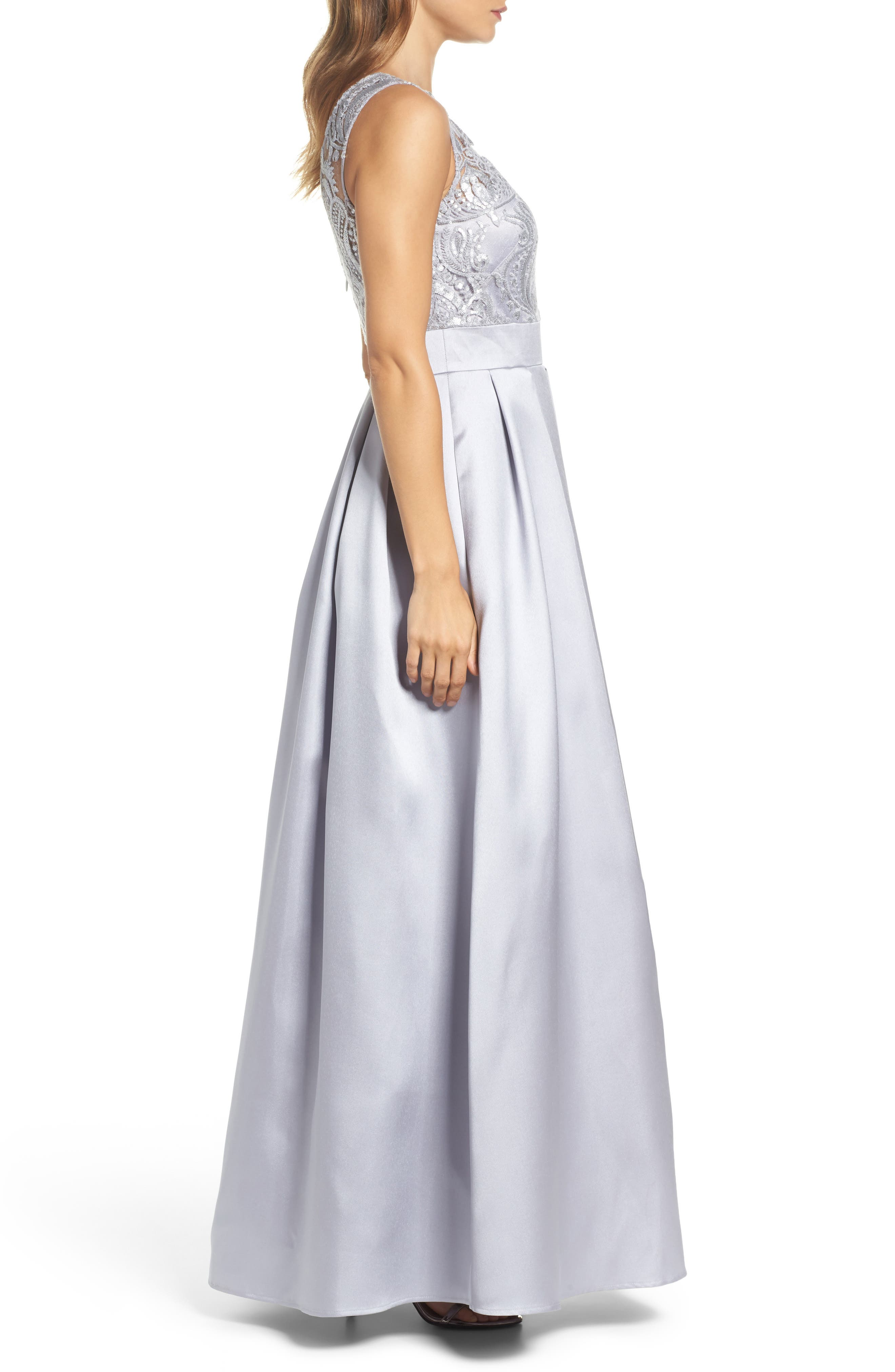 Sequin Embellished Illusion Neck Gown,                             Alternate thumbnail 3, color,                             040