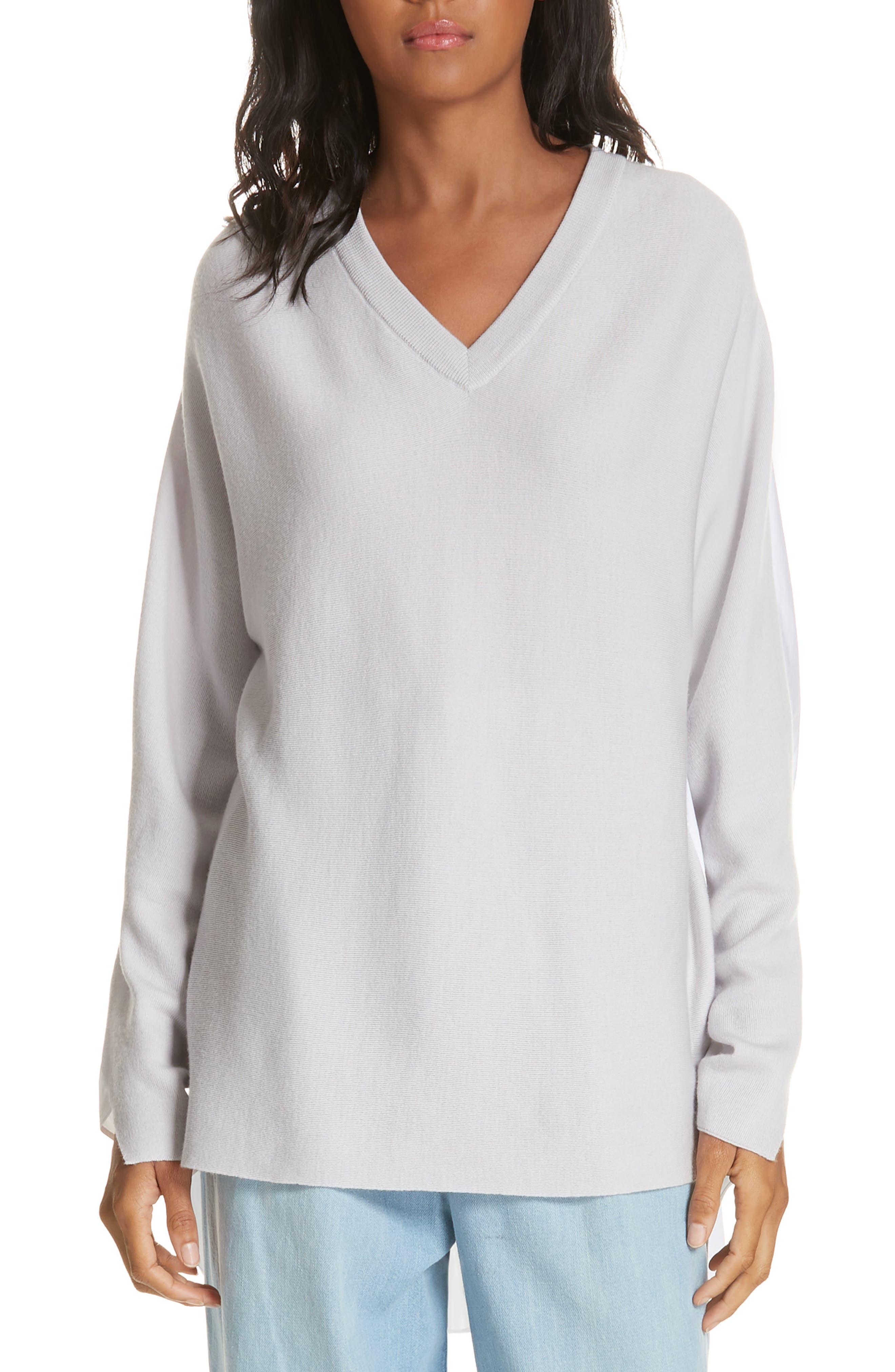 Mixed Media V-Neck Sweater,                             Main thumbnail 1, color,                             LIGHT WARM GREY MULTI