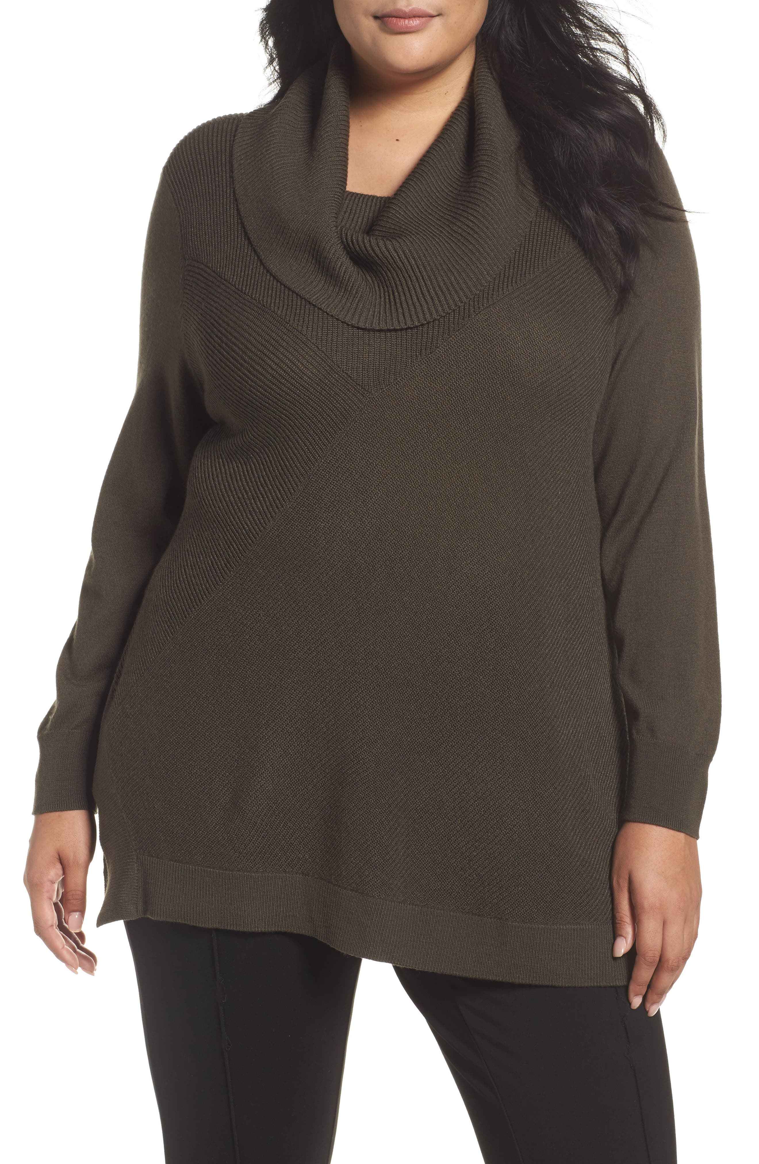 Cowl Neck Ribbed Trim Pullover,                             Main thumbnail 3, color,