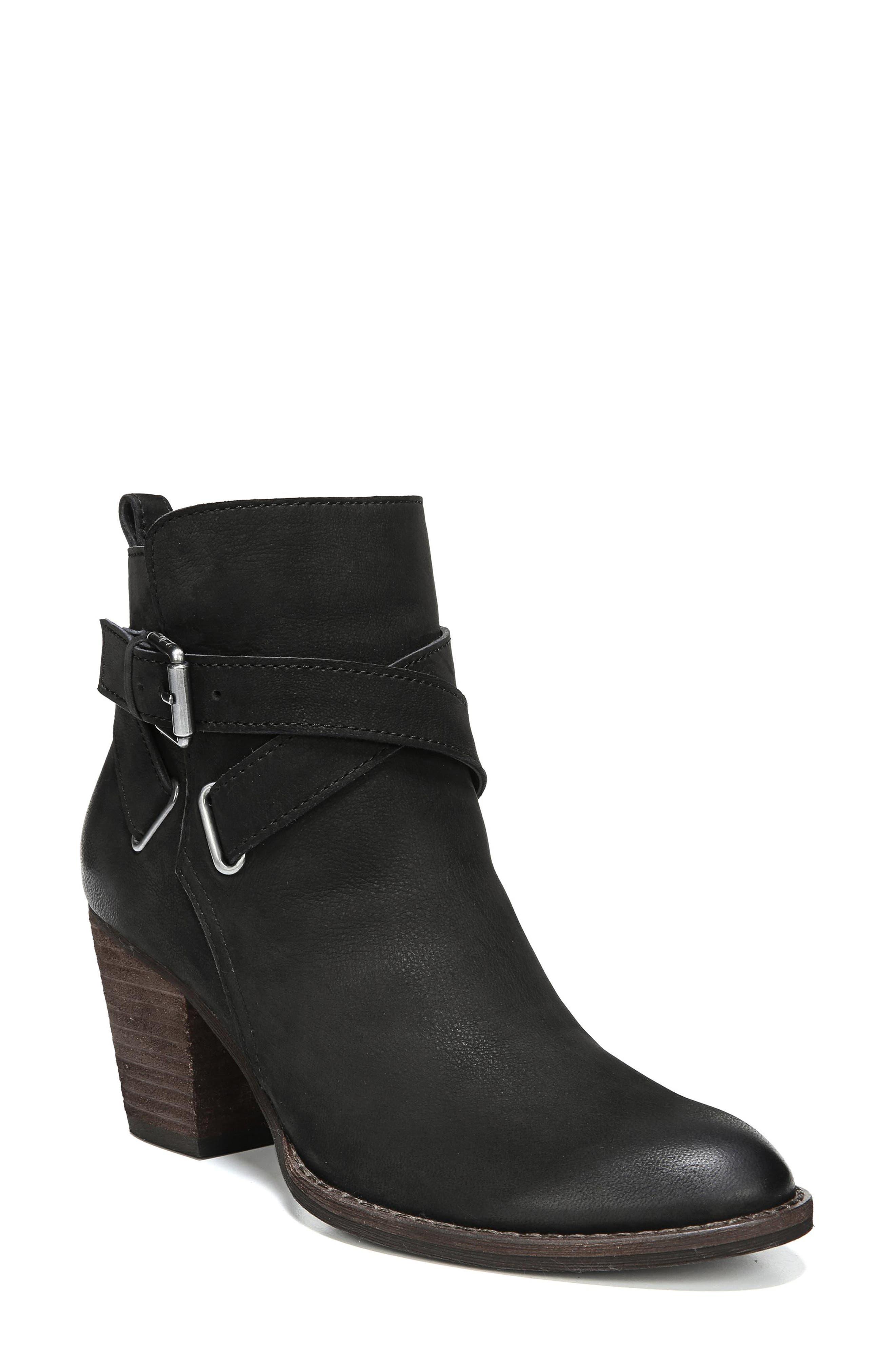 SAM EDELMAN Women'S Morris Almond Toe Leather Mid-Heel Booties in Black Leather