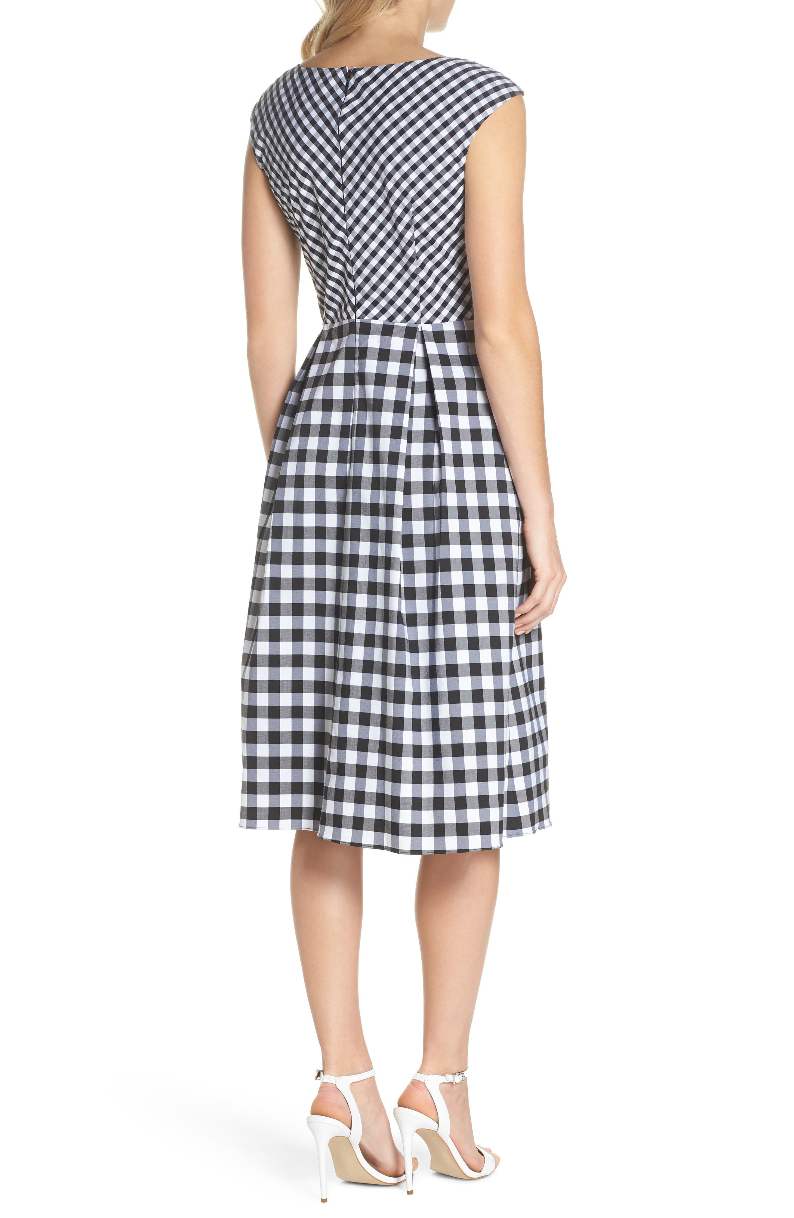 ADRIANNA PAPELL,                             Gingham Tie Front Midi Dress,                             Alternate thumbnail 2, color,                             002