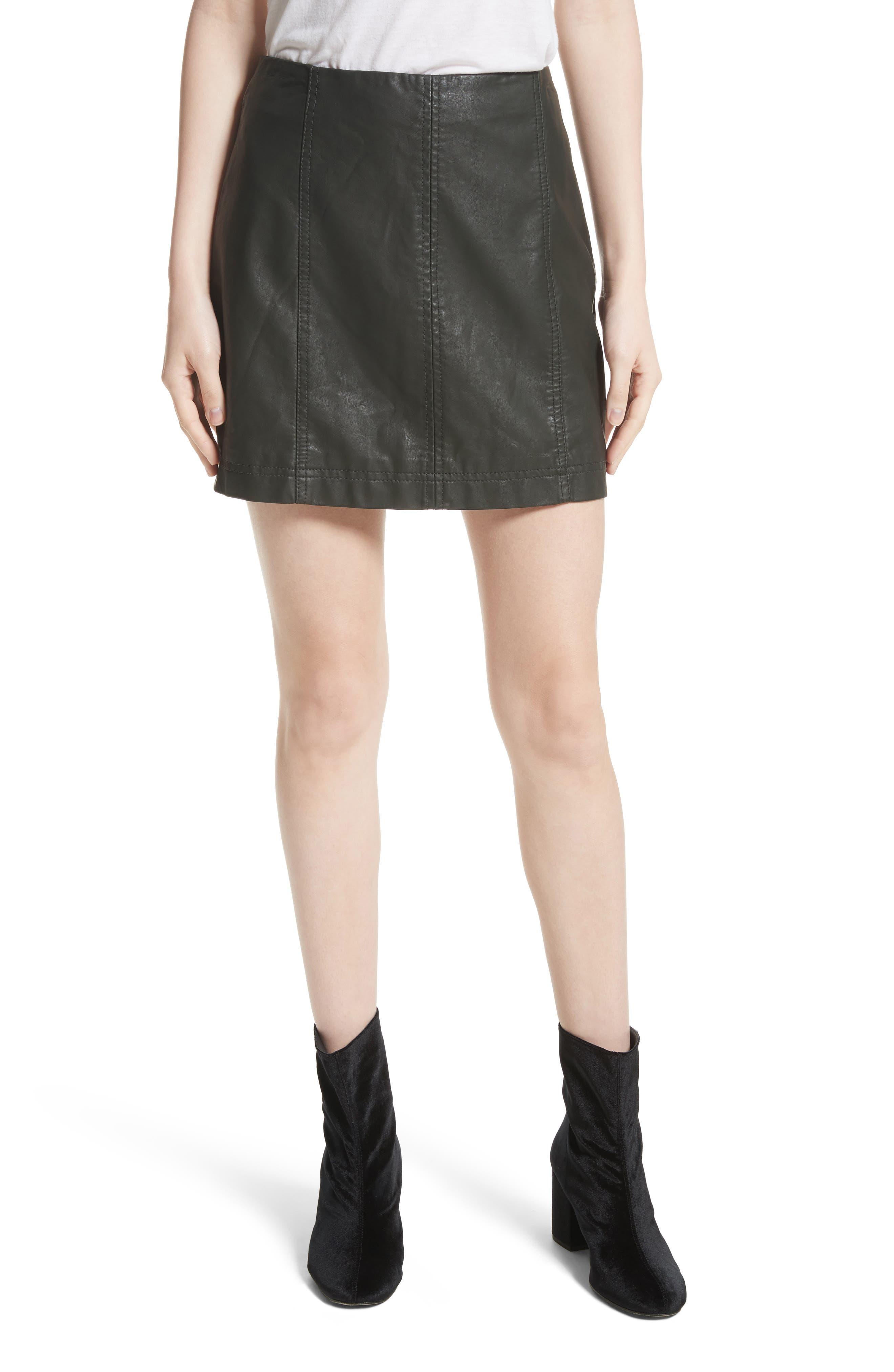 Modern Femme Faux Leather Miniskirt,                         Main,                         color, 300
