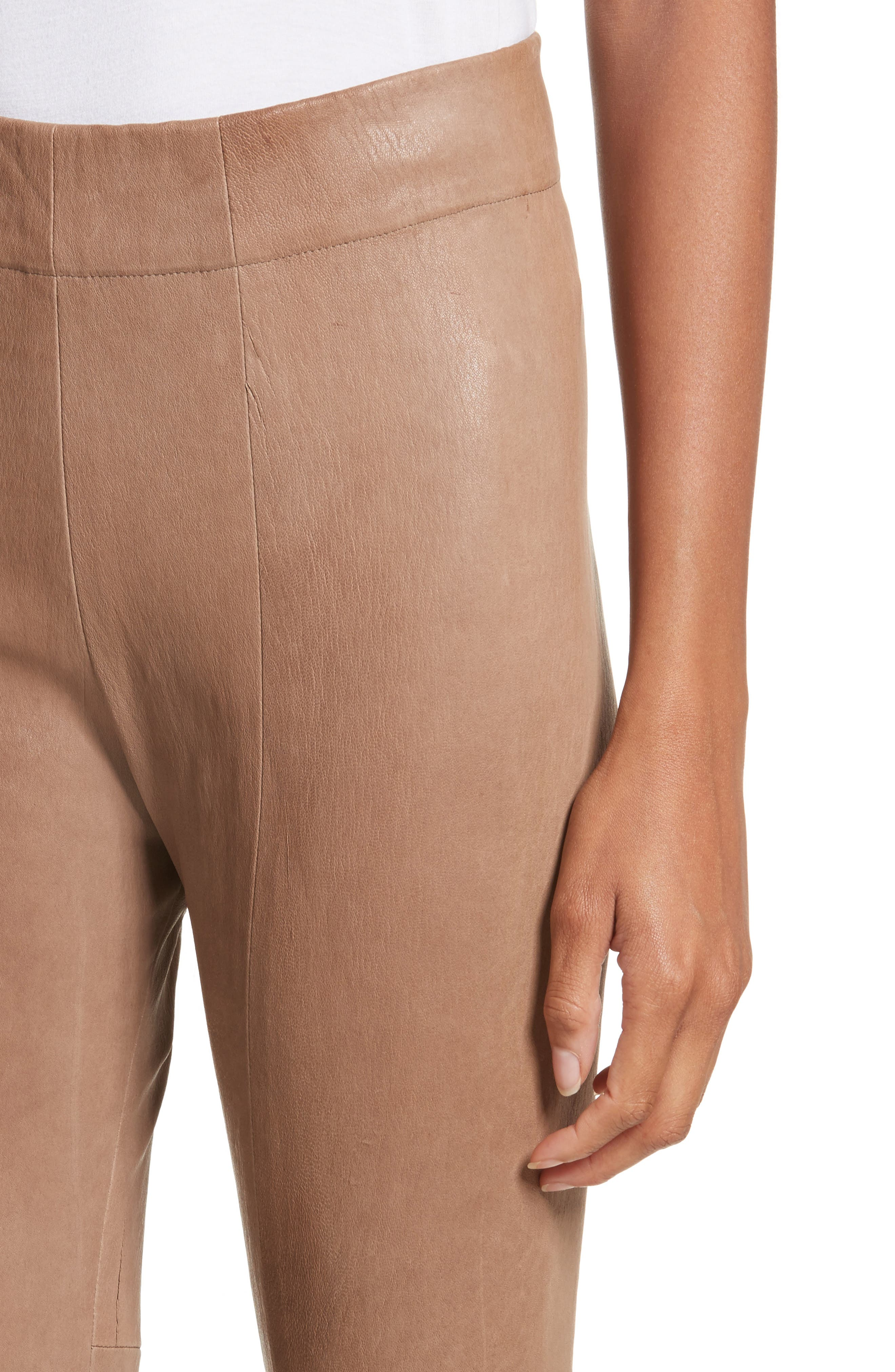 Lambskin Leather Skinny Pants,                             Alternate thumbnail 4, color,