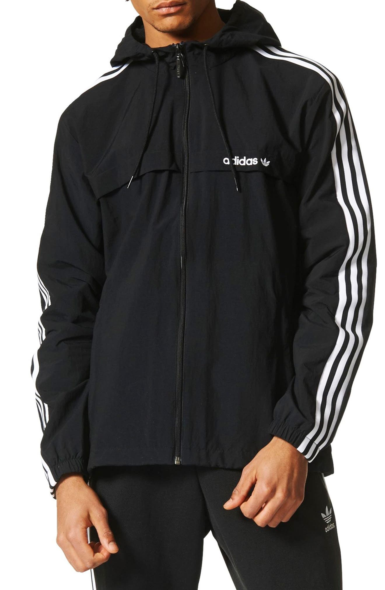 3-Stripe Hooded Windbreaker,                             Main thumbnail 1, color,